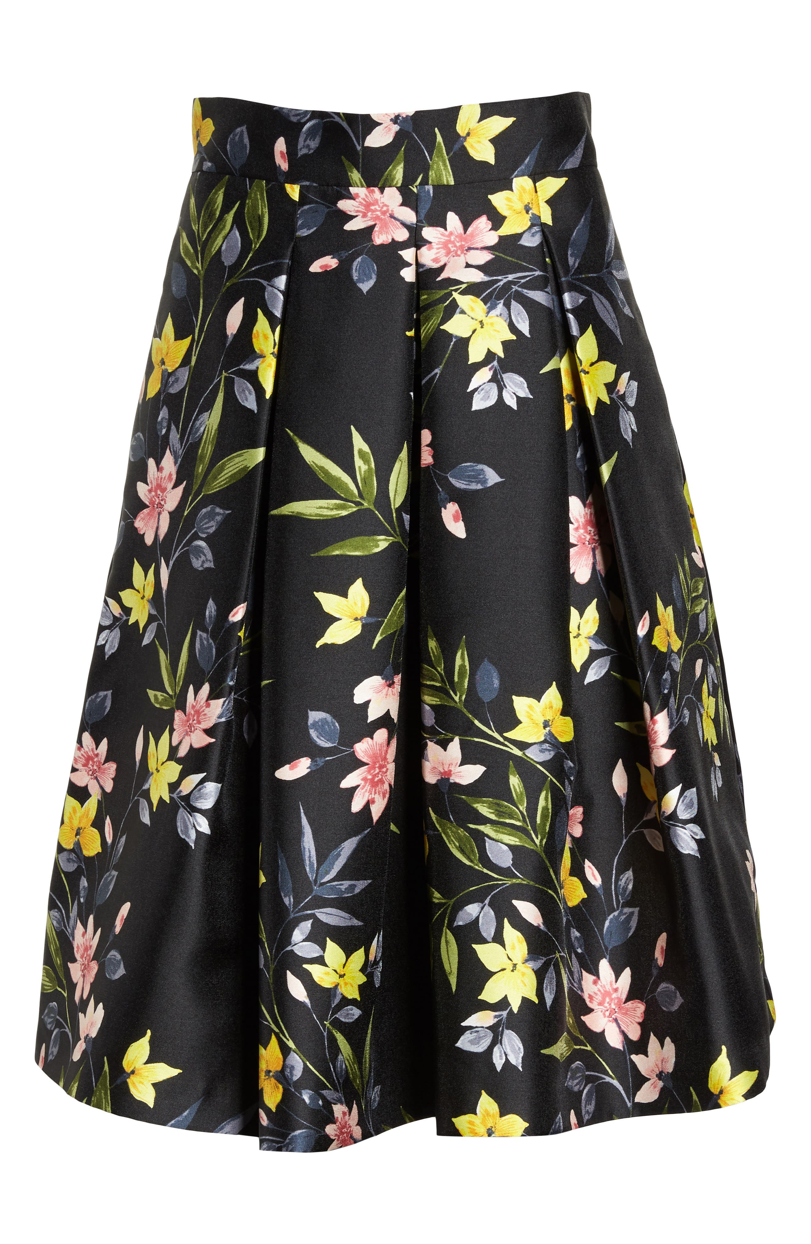 Floral A-Line Skirt,                             Alternate thumbnail 6, color,                             001