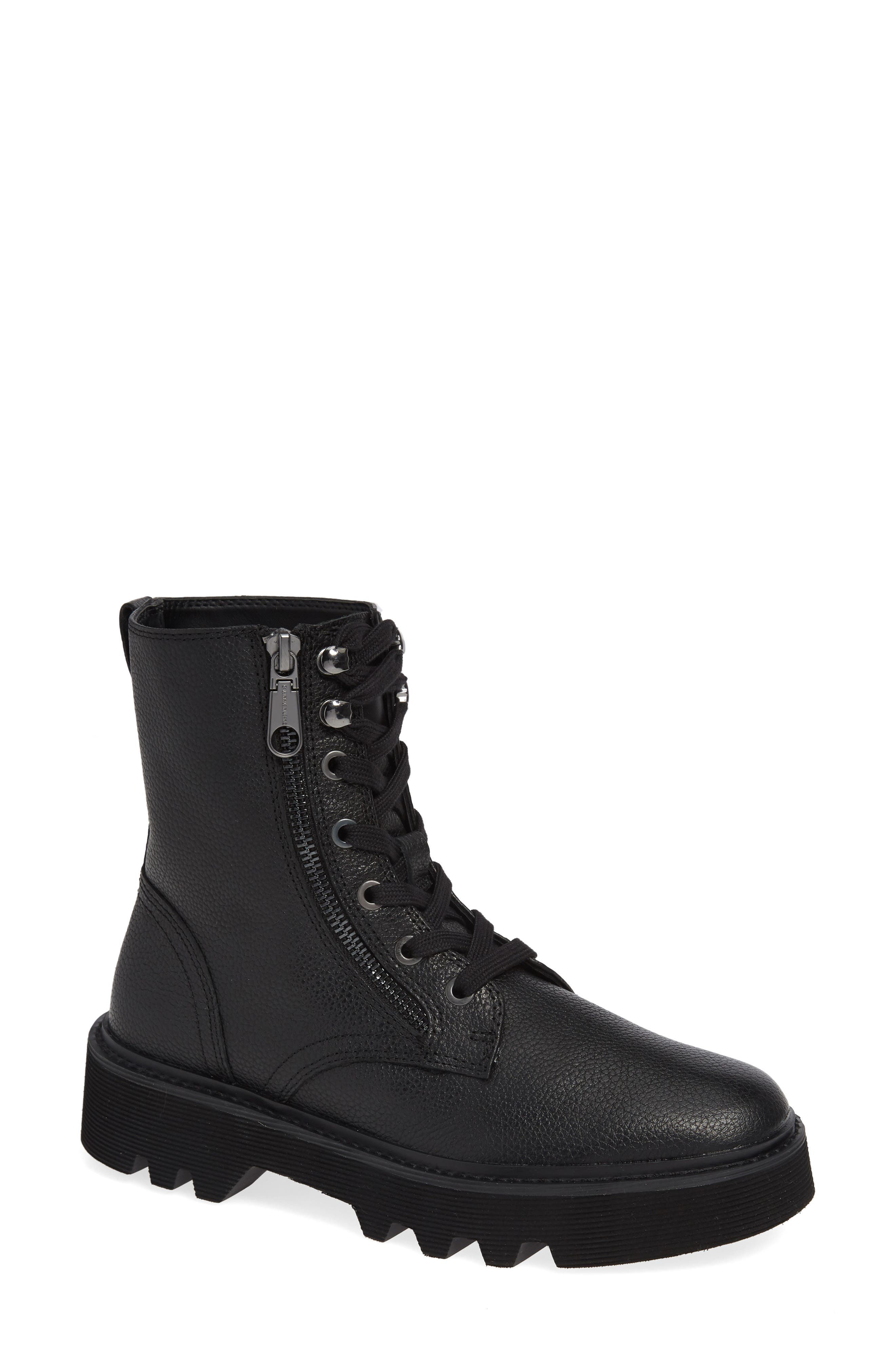 Diahne Combat Boot,                             Main thumbnail 1, color,                             BLACK LEATHER