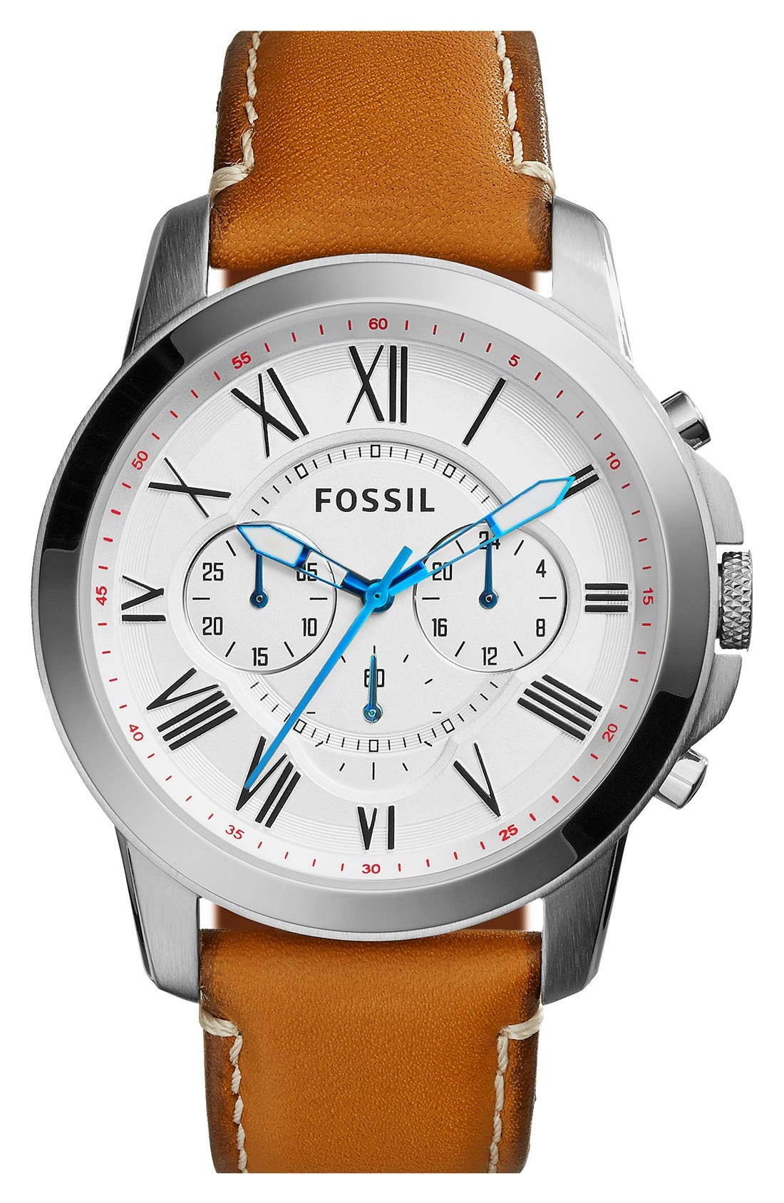 'Grant' Round Chronograph Leather Strap Watch, 44mm,                             Main thumbnail 17, color,
