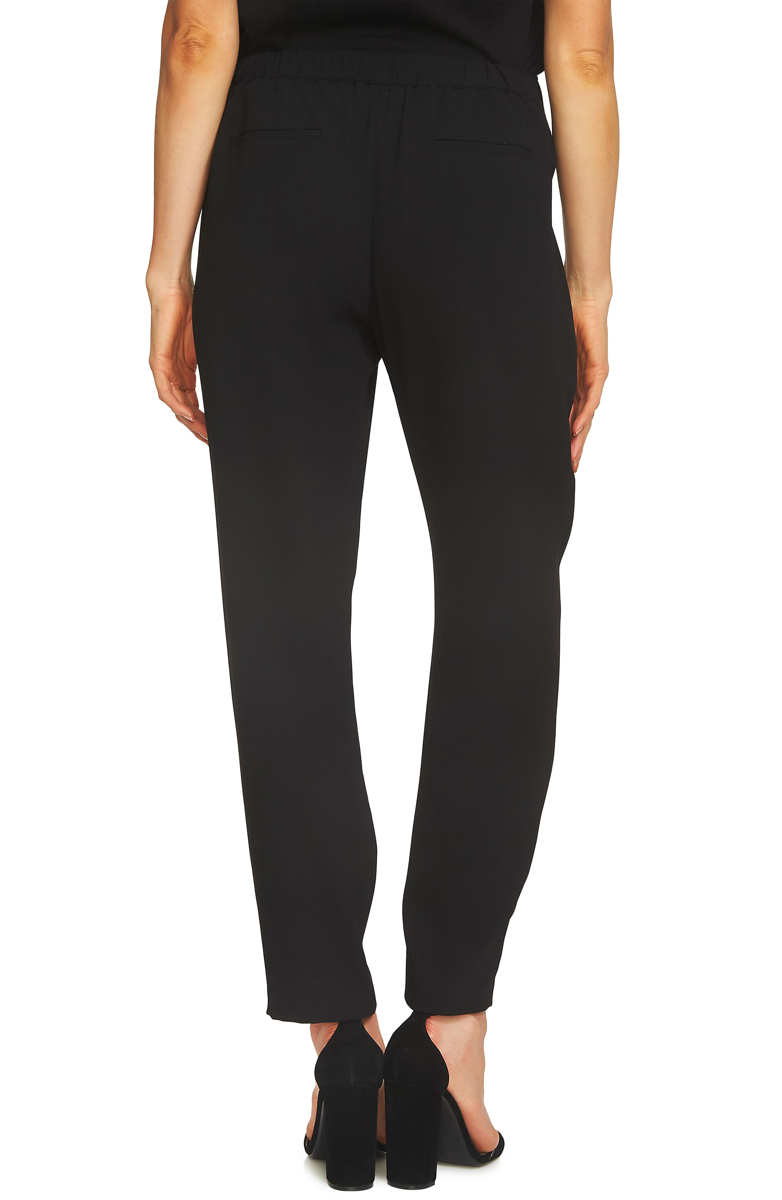 Tie Front Crepe Ankle Pants,                             Alternate thumbnail 2, color,                             RICH BLACK