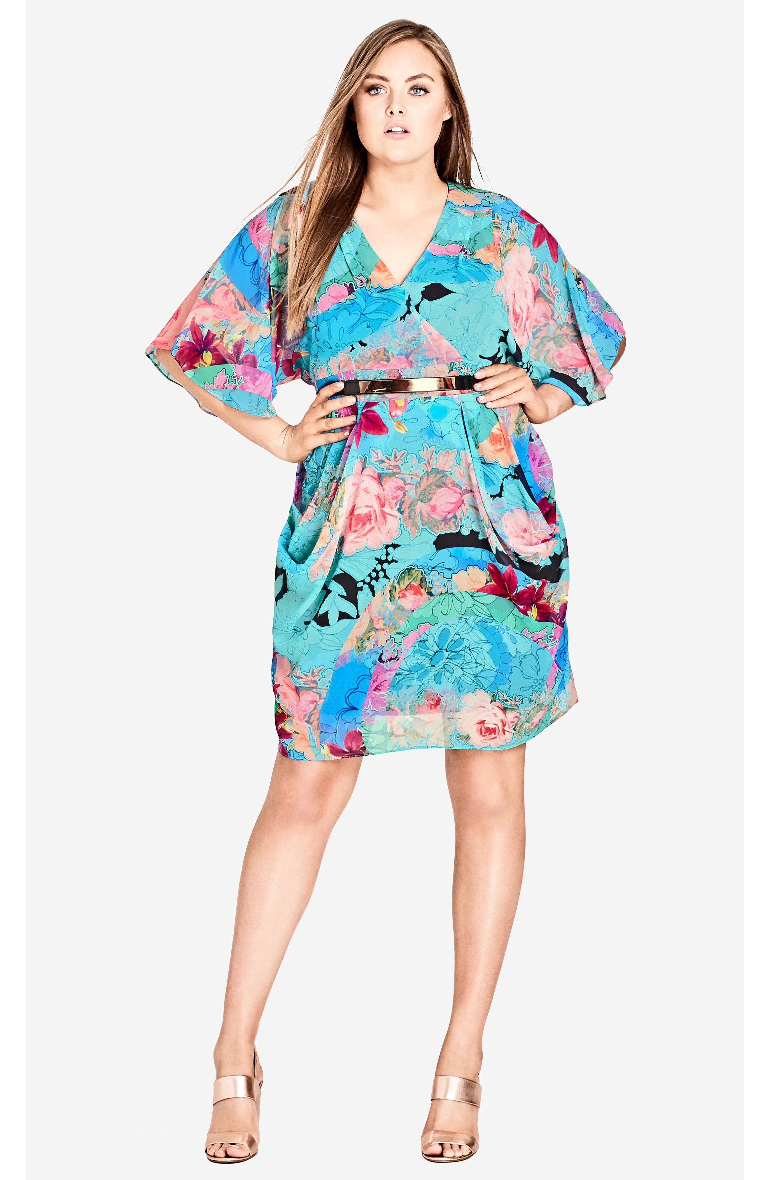Graphic Wrap Dress,                             Alternate thumbnail 4, color,                             LOOKING GLASS