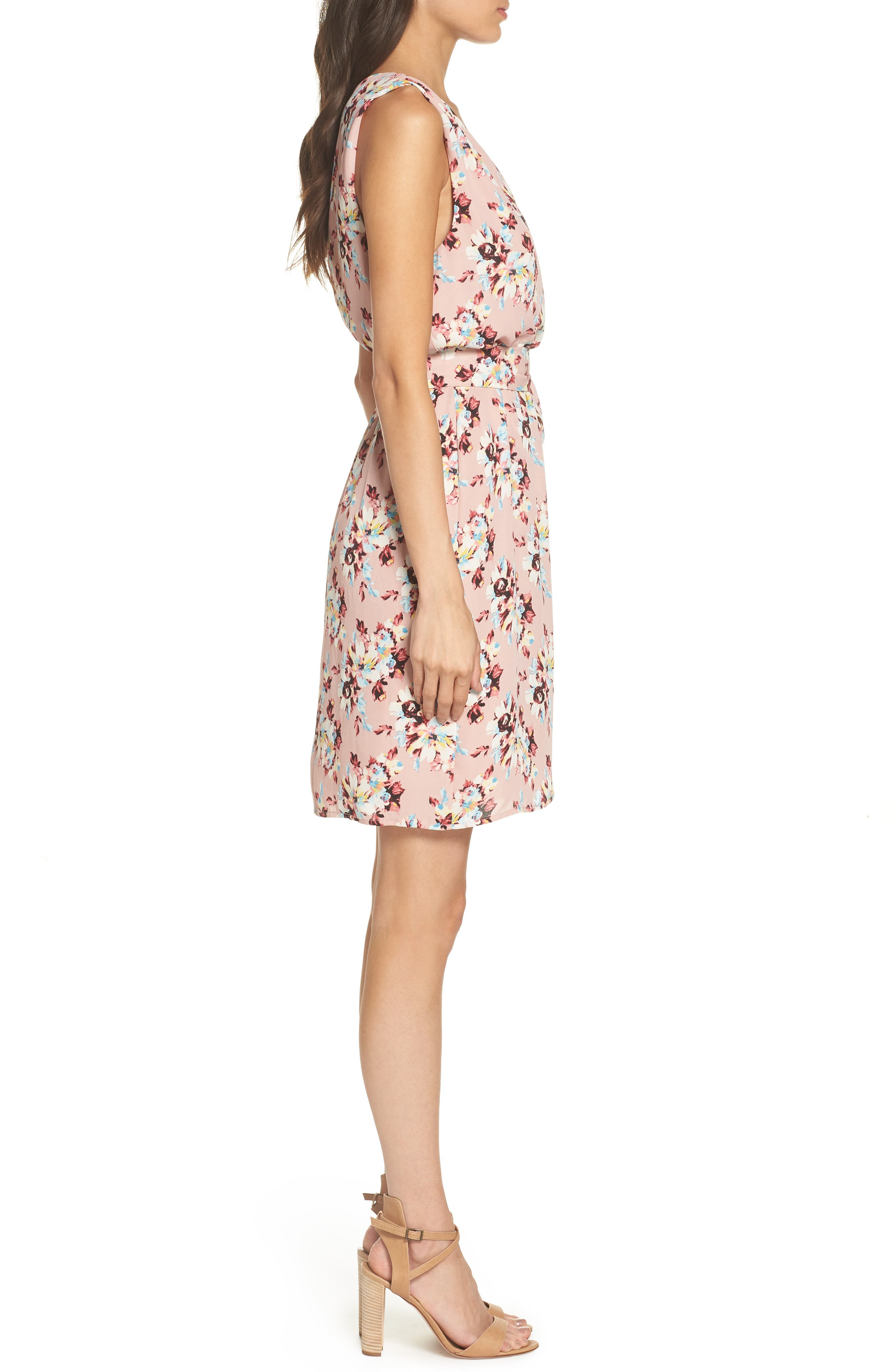 Floral Faux Wrap Dress,                             Alternate thumbnail 3, color,                             657