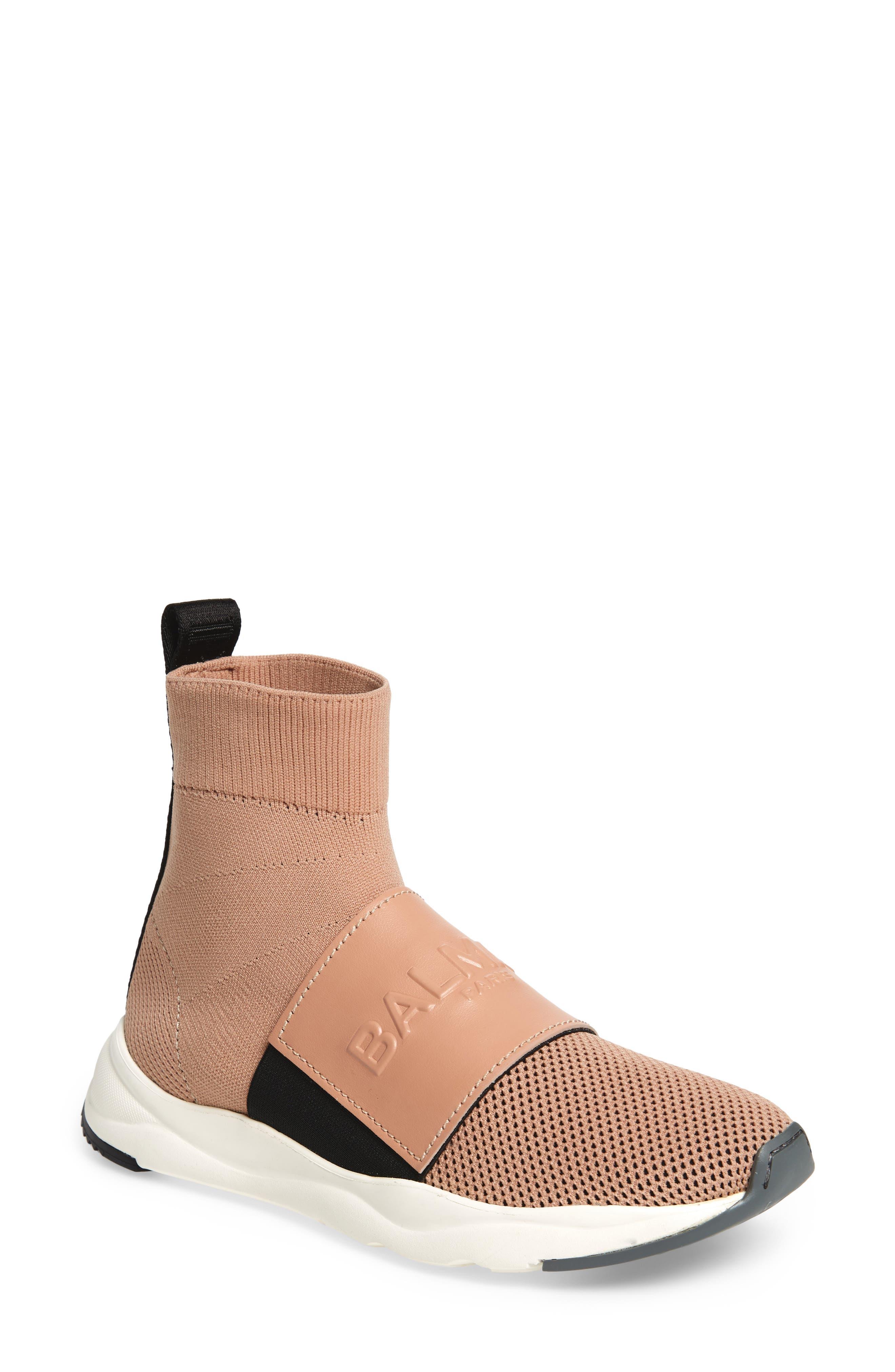 Cameron Logo Strap Sock Sneaker,                             Main thumbnail 1, color,                             POUDRE