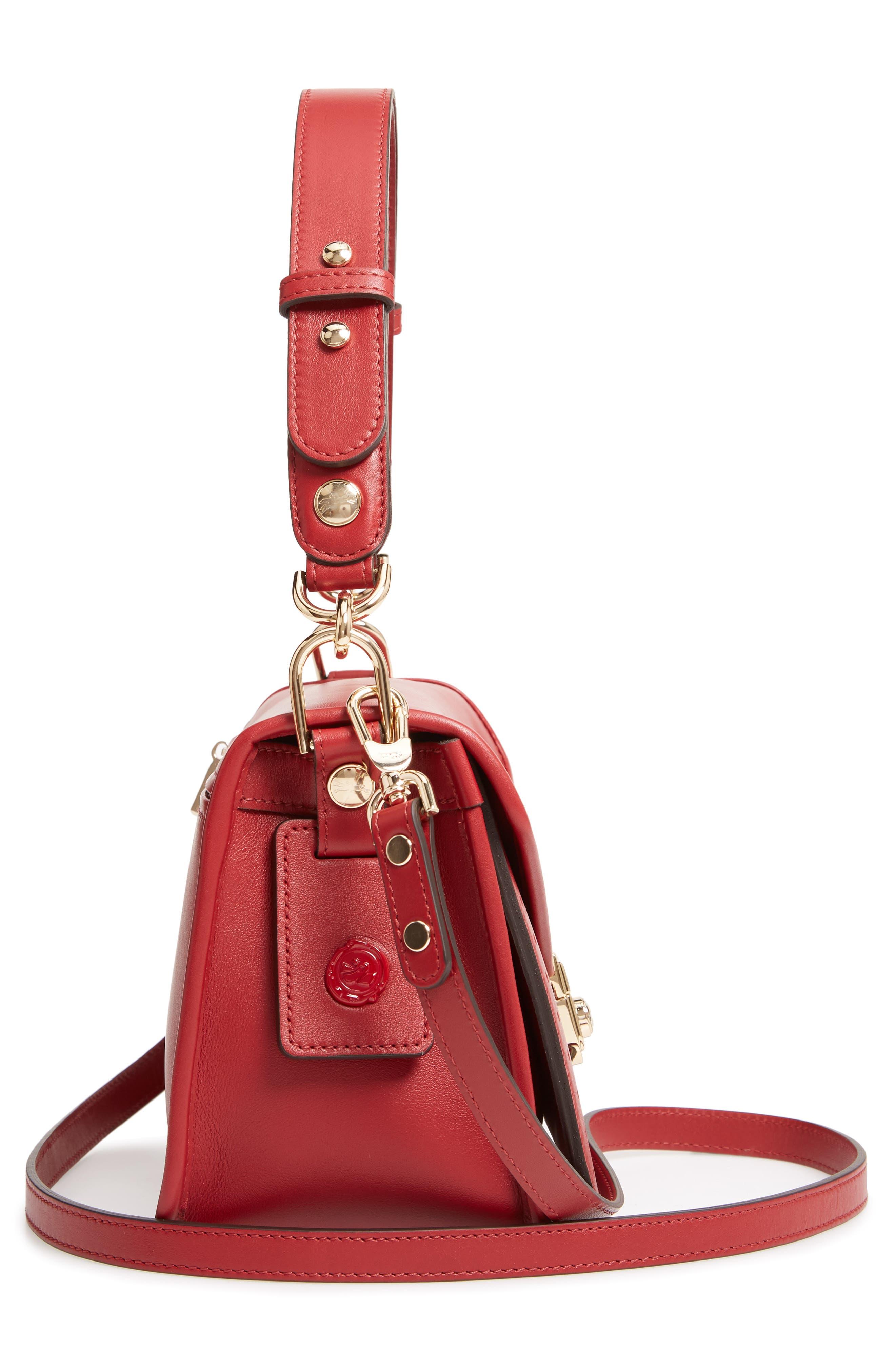 Mademoiselle Calfskin Leather Crossbody Bag,                             Alternate thumbnail 5, color,                             GARNET RED