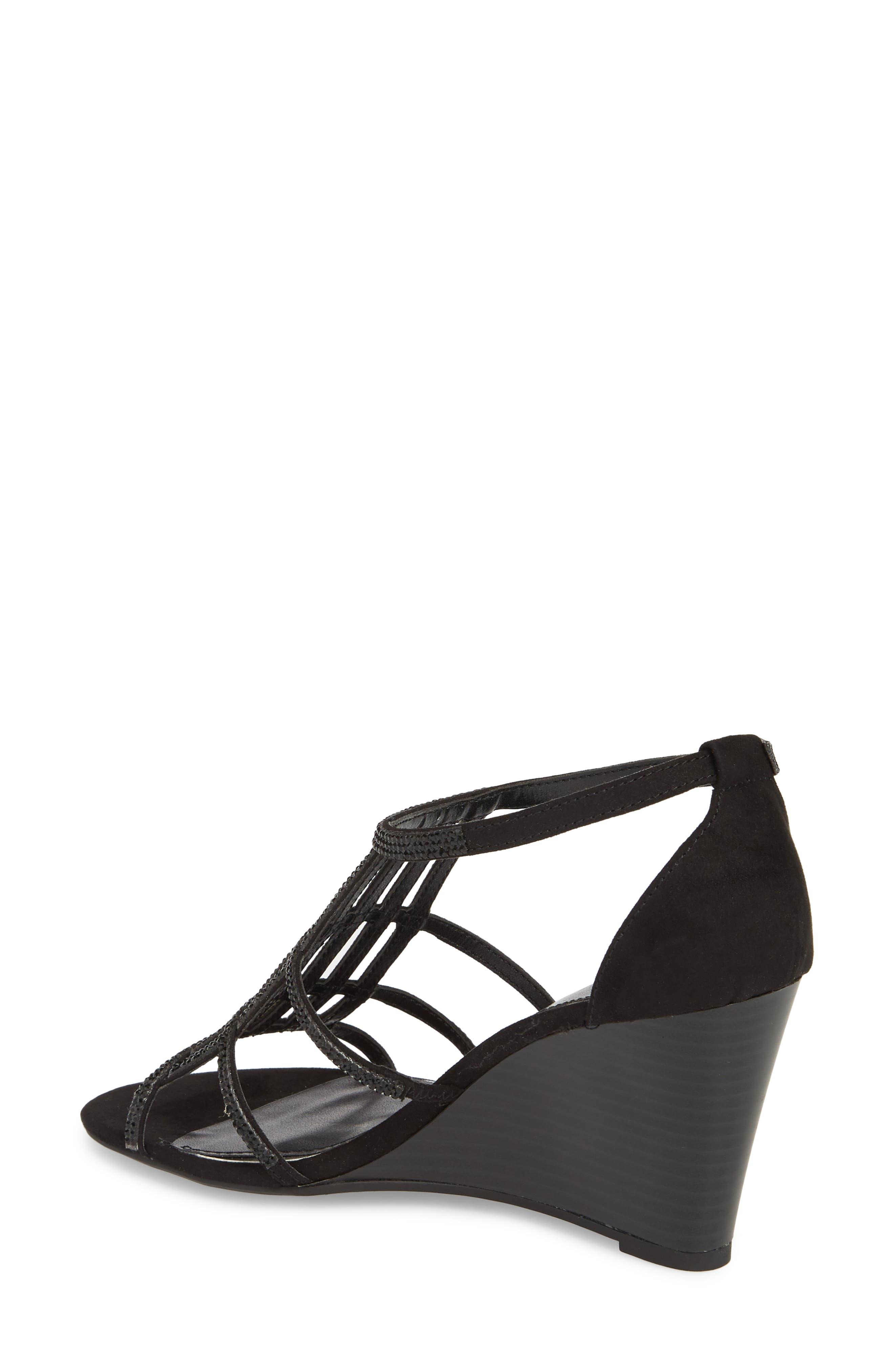 Hampton Crystal Embellished Wedge Sandal,                             Alternate thumbnail 2, color,                             BLACK SUEDE