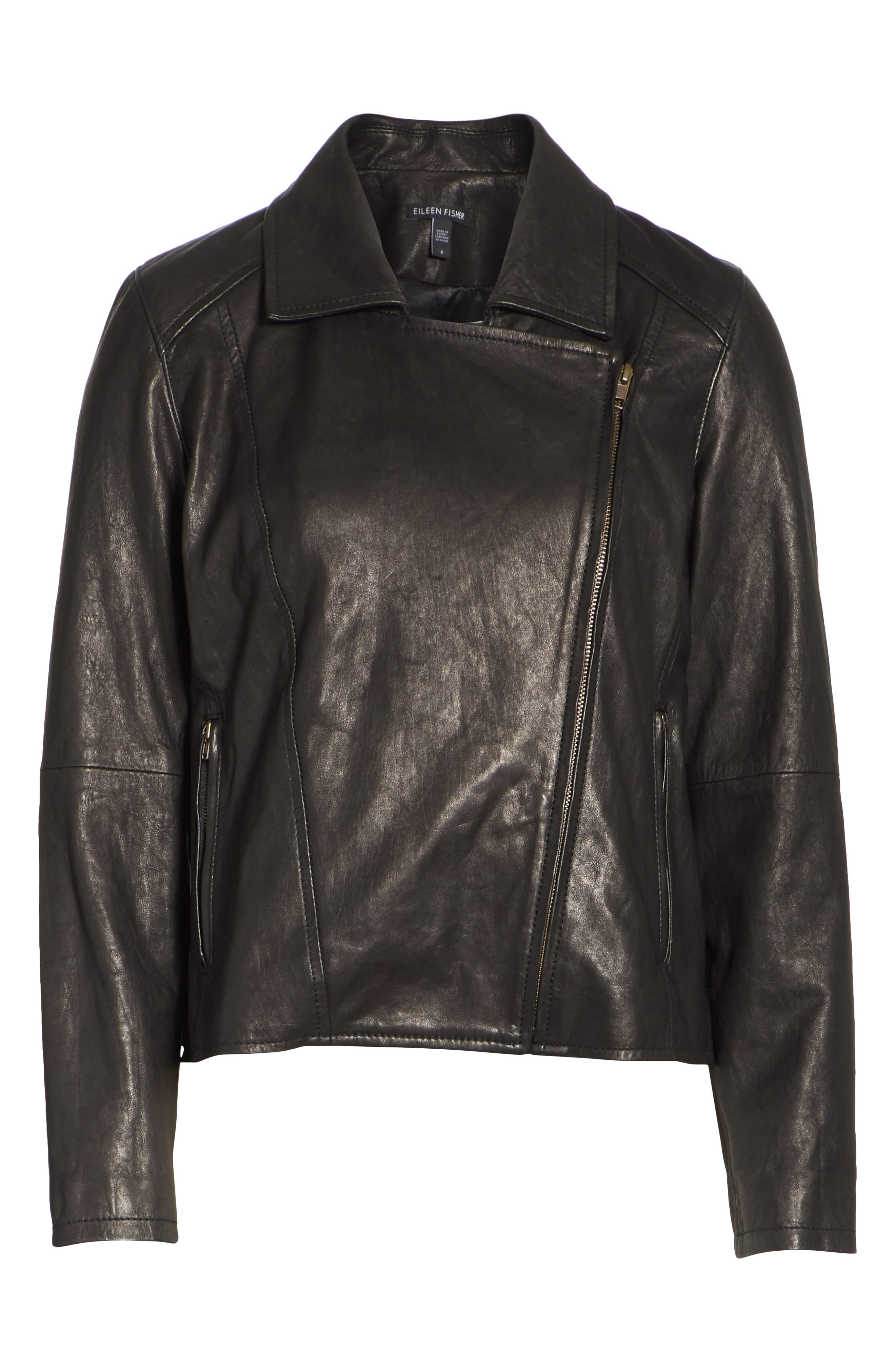 EILEEN FISHER,                             Leather Moto Jacket,                             Alternate thumbnail 5, color,                             001