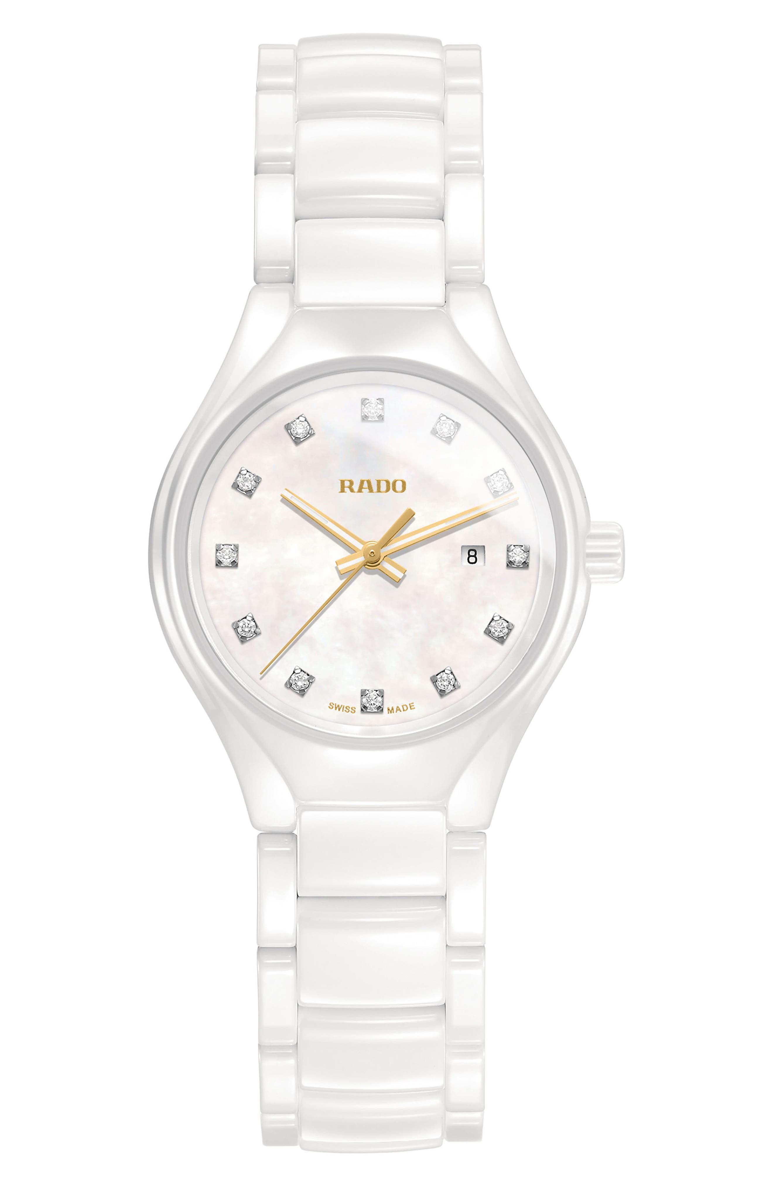 True Diamond Marker Ceramic Bracelet Watch, 30mm,                             Main thumbnail 1, color,                             WHITE/ MOP/ WHITE