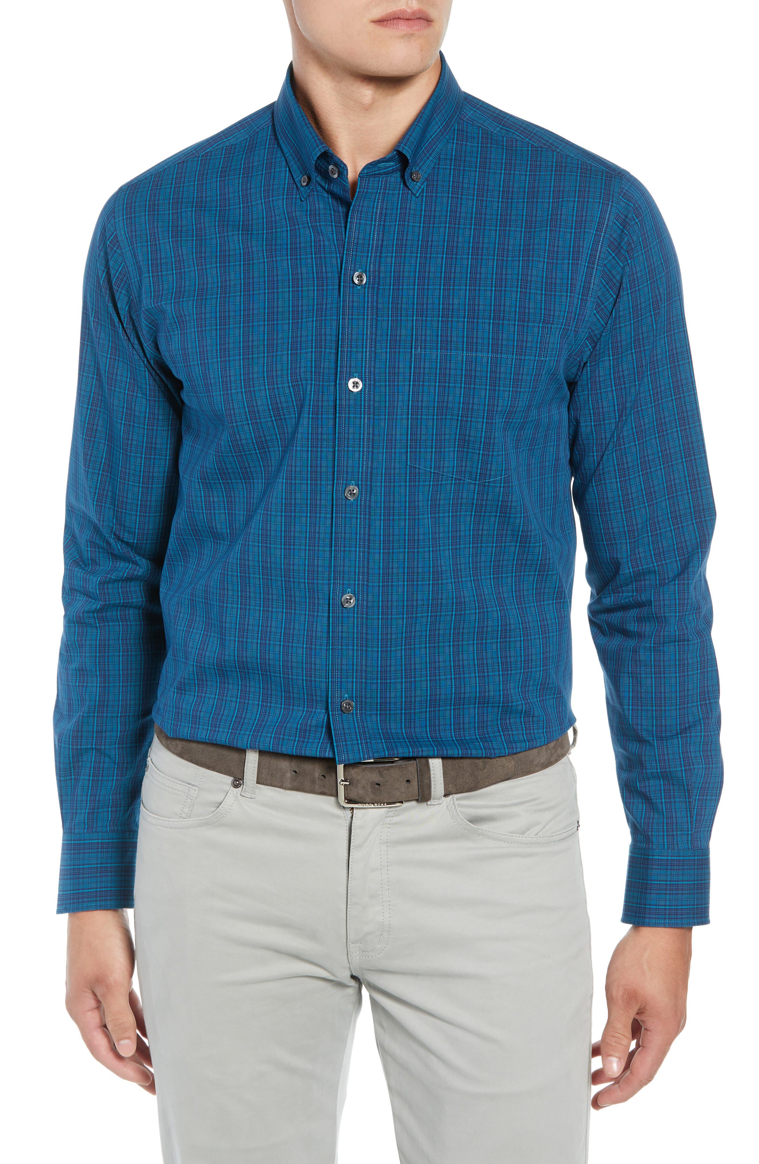 Logan Regular Fit Non-Iron Sport Shirt,                         Main,                         color, AQUATIC