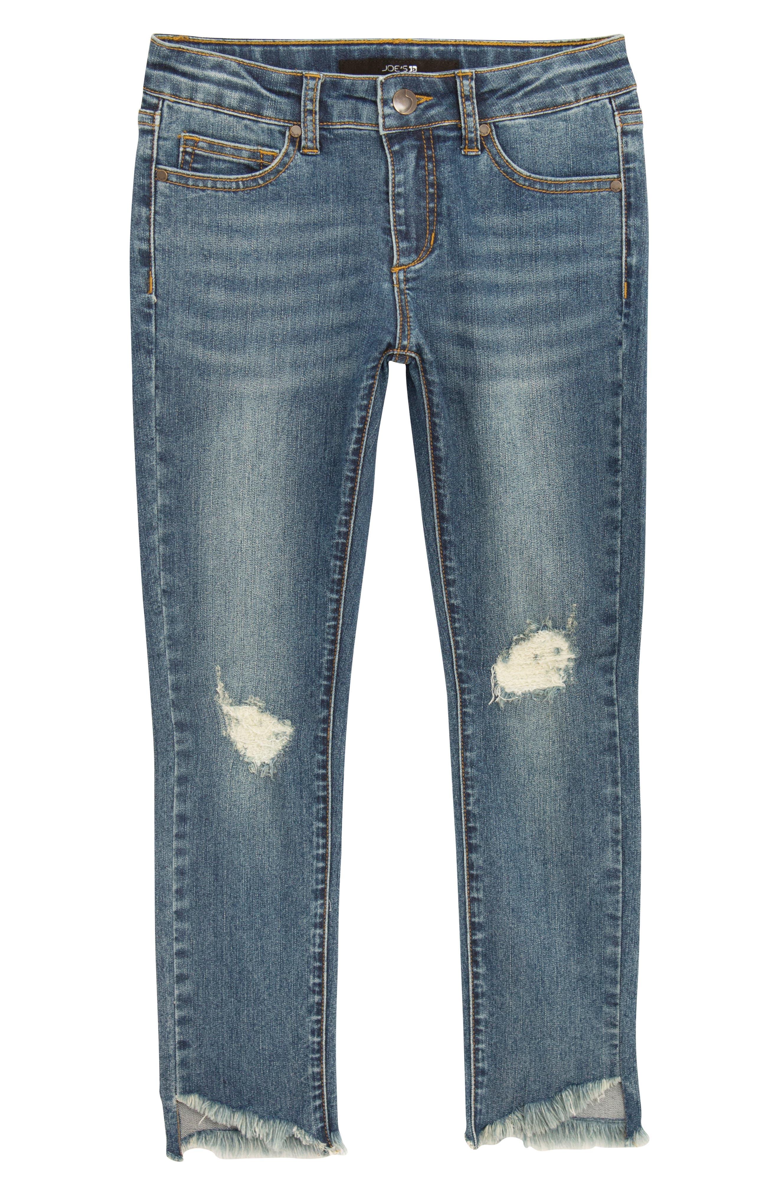 The Markie Angled Fray Skinny Jeans,                             Main thumbnail 1, color,                             MEDIUM VINTAGE