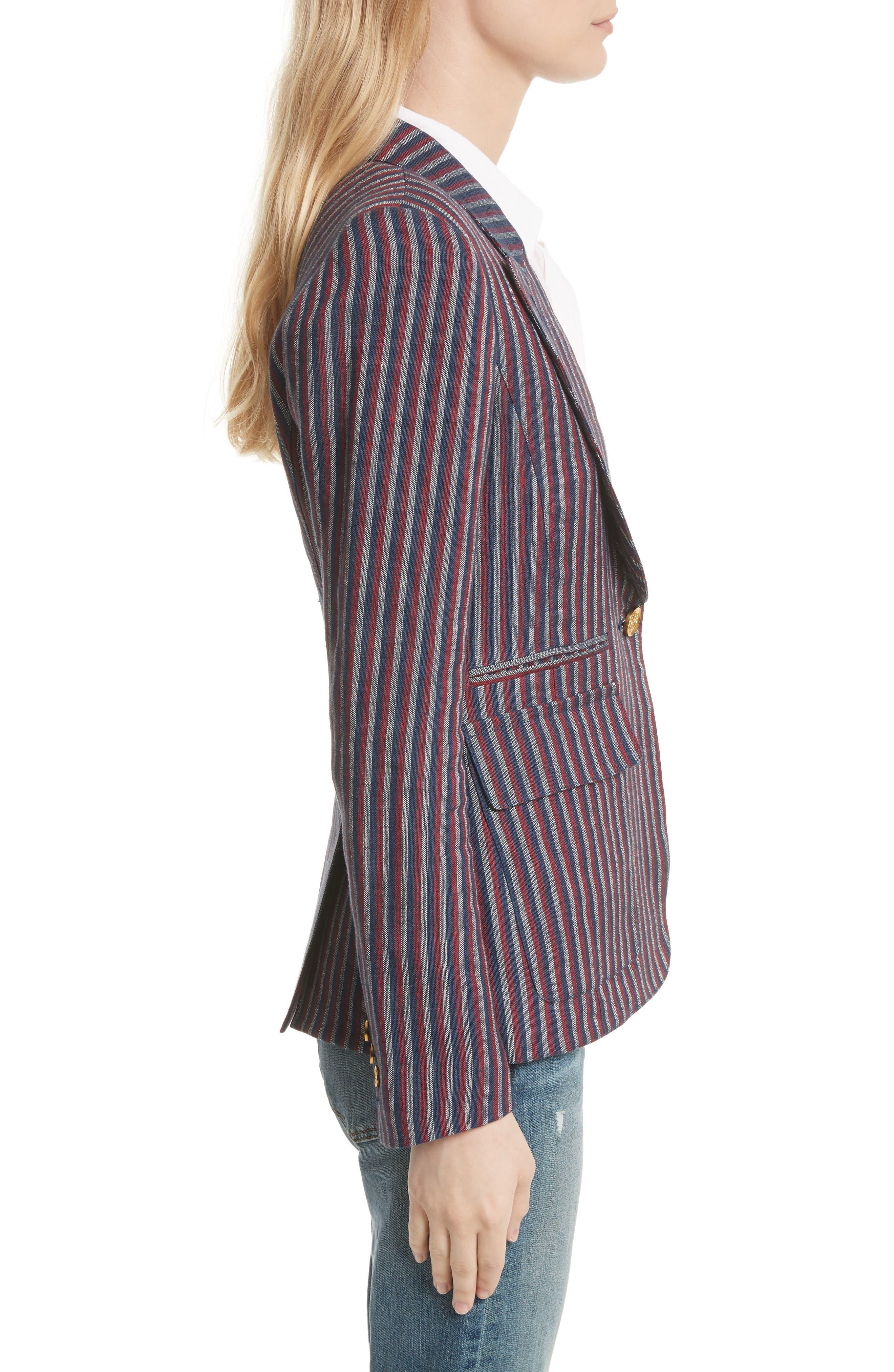 Stripe Cotton Blazer,                             Alternate thumbnail 3, color,                             607