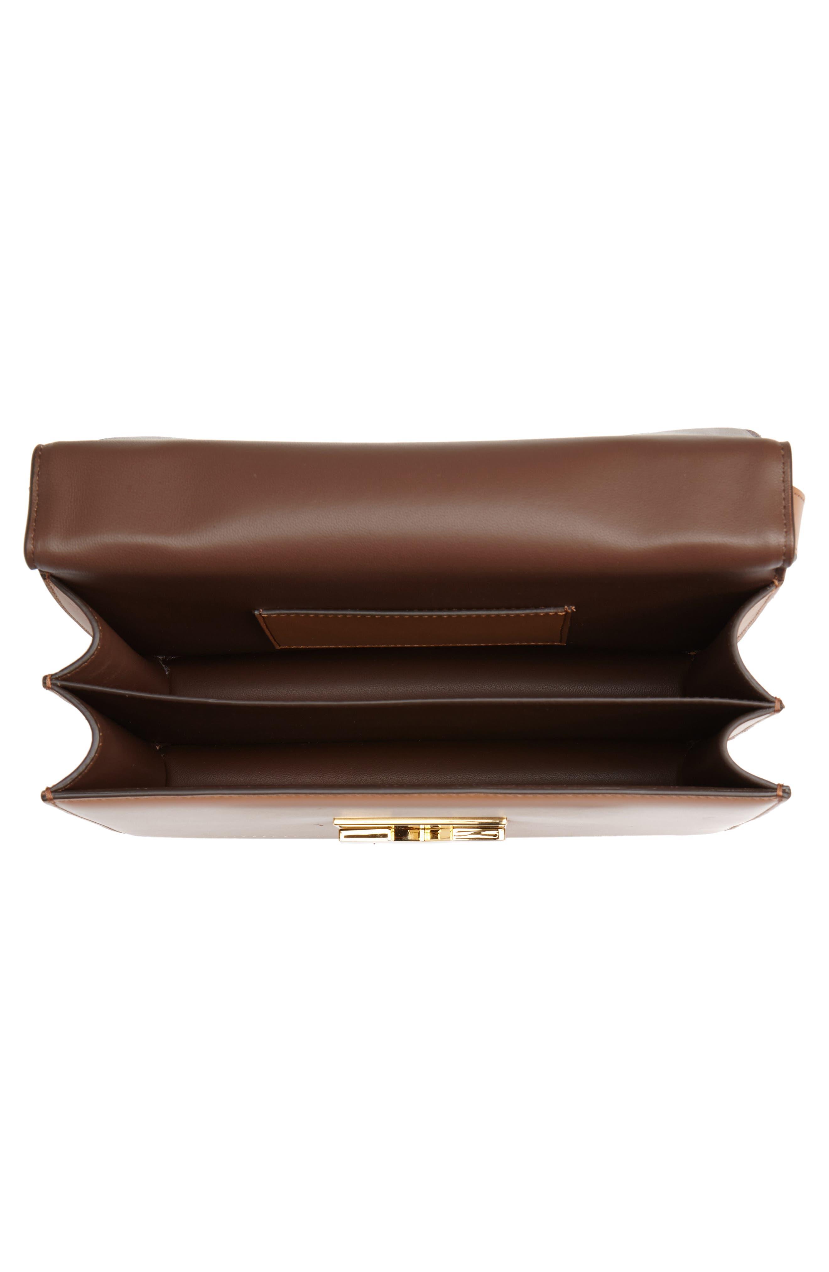 Eva Calfskin Leather Shoulder Bag,                             Alternate thumbnail 4, color,                             CAMEL