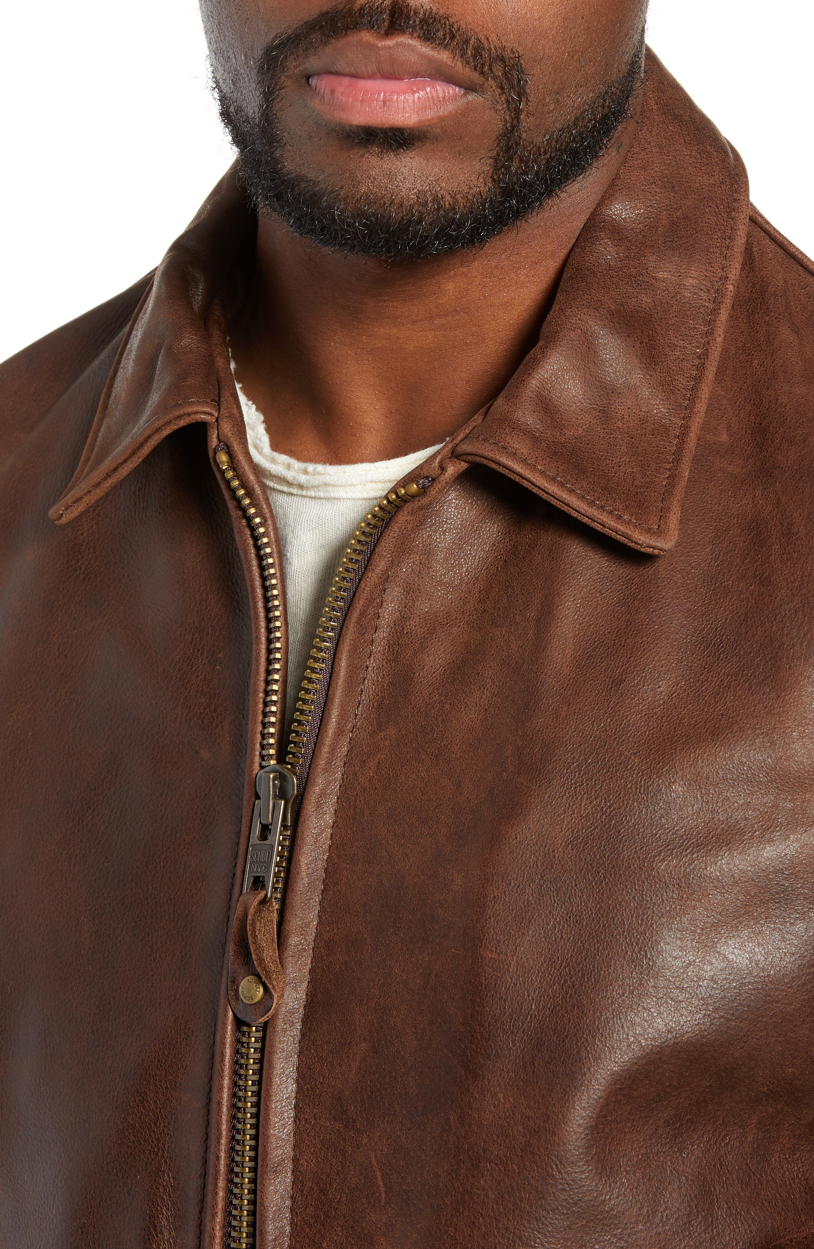 Waxy Naked Buffalo Leather Delivery Jacket,                             Alternate thumbnail 4, color,                             200