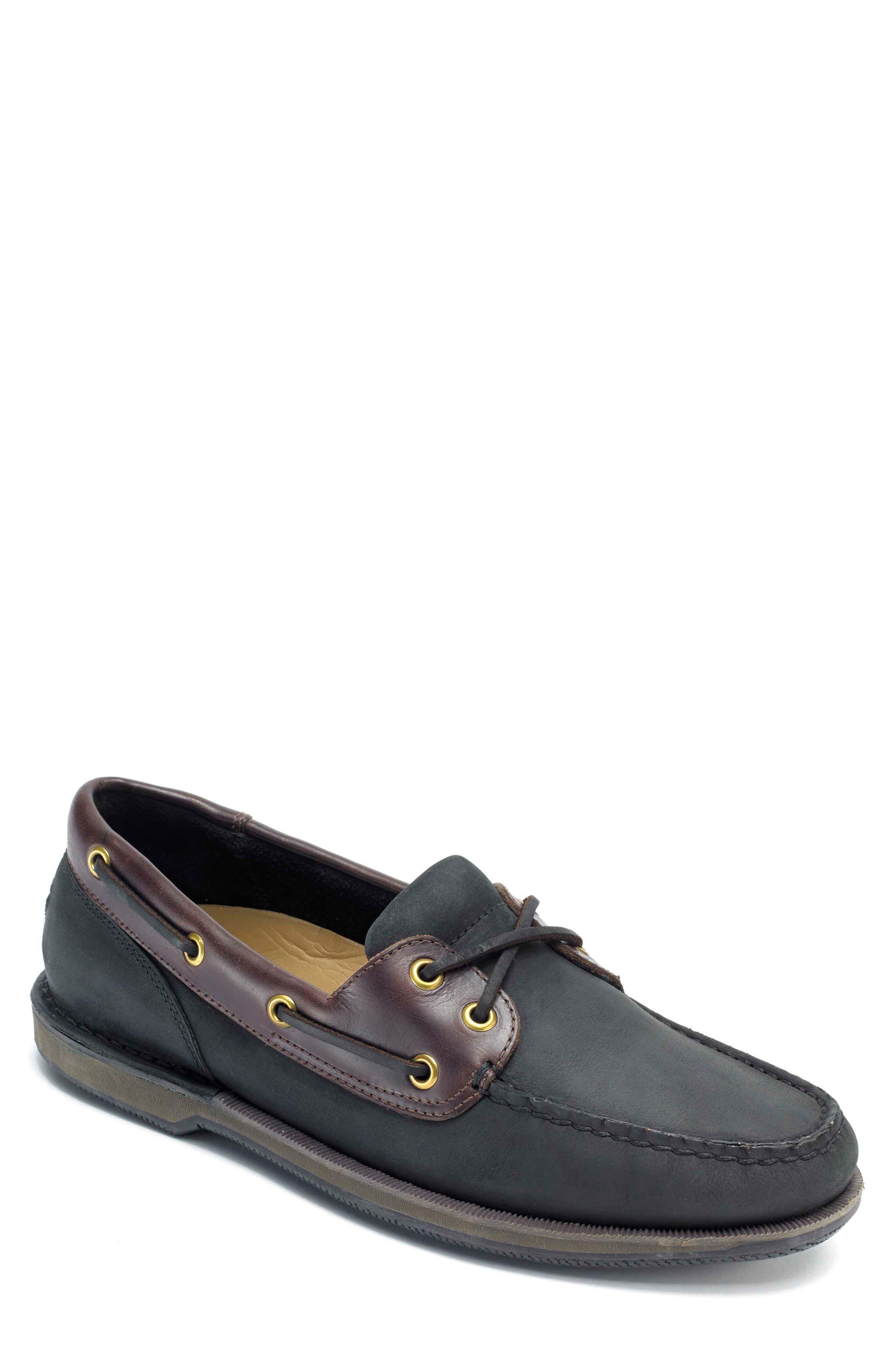 'Perth' Boat Shoe,                             Main thumbnail 1, color,                             BLACK/ BARK LEATHER