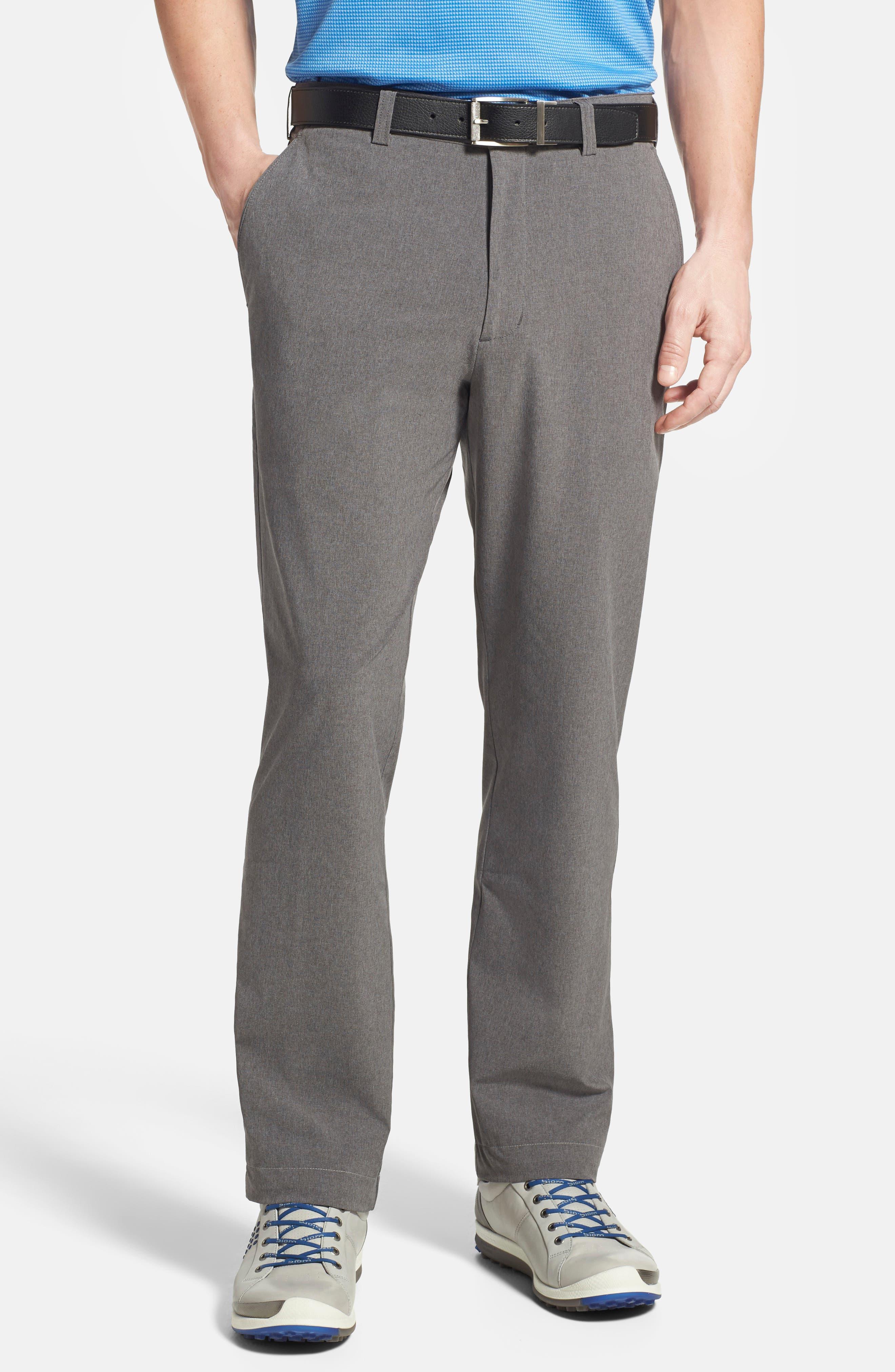 Bainbridge DryTec Moisture Wicking Flat Front Pants,                             Alternate thumbnail 4, color,                             IRON GREY