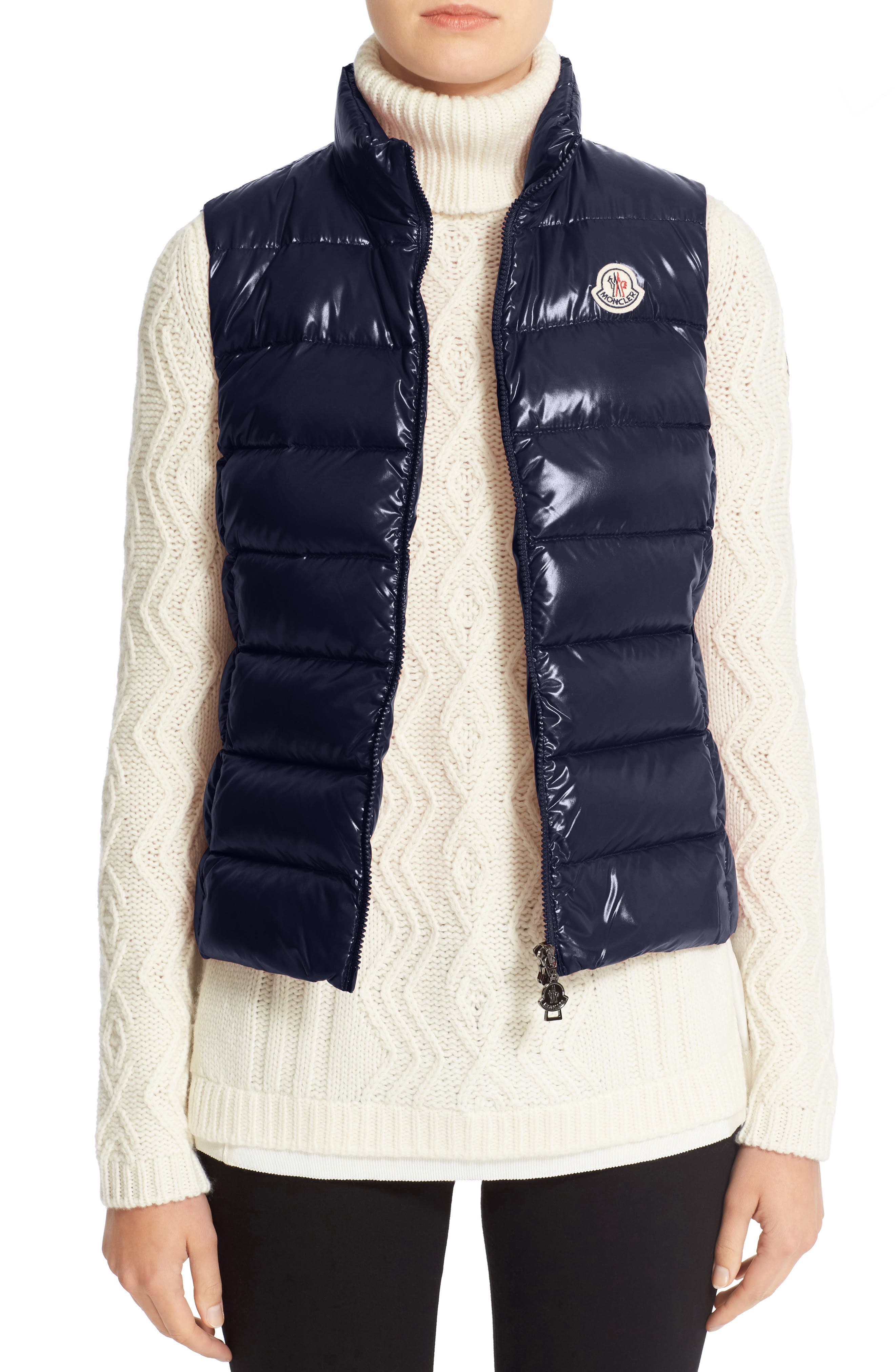 Moncler Ghany Water Resistant Shiny Nylon Down Puffer Vest, Blue
