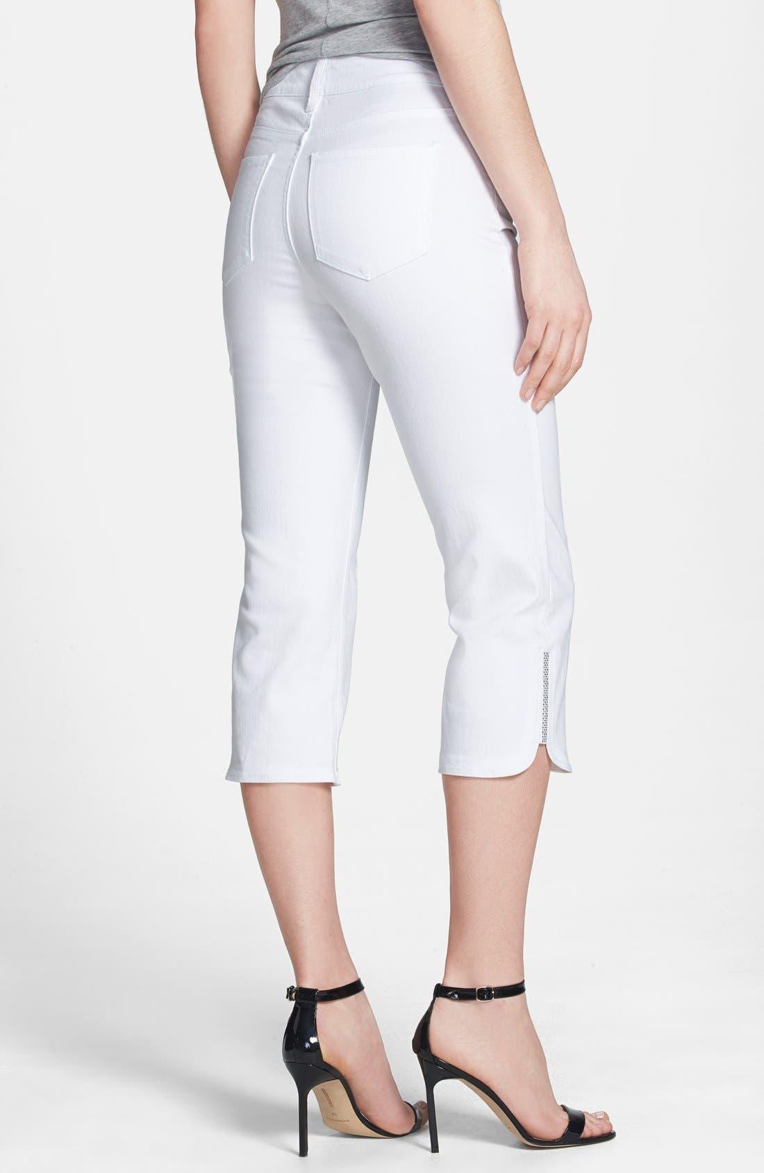 'Devin' Embellished Hem Stretch Crop Jeans,                             Alternate thumbnail 3, color,                             103