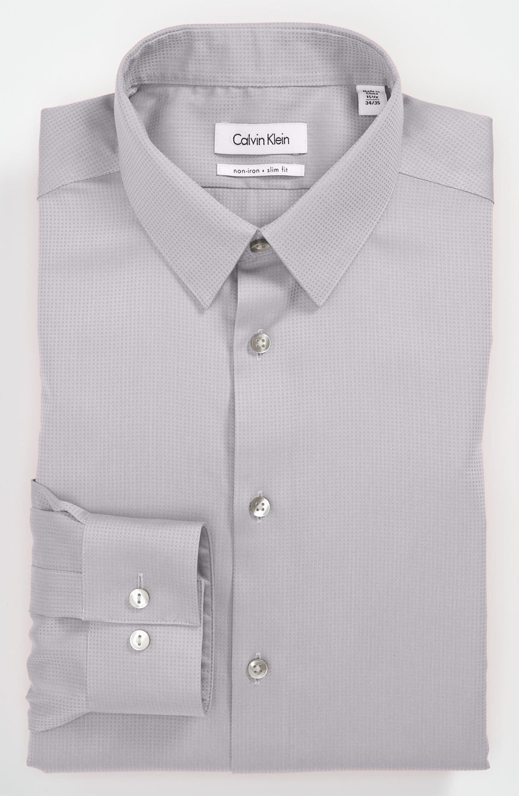 Calvin Klein Miami Check Slim Fit Non Iron Dress Shirt Nordstrom