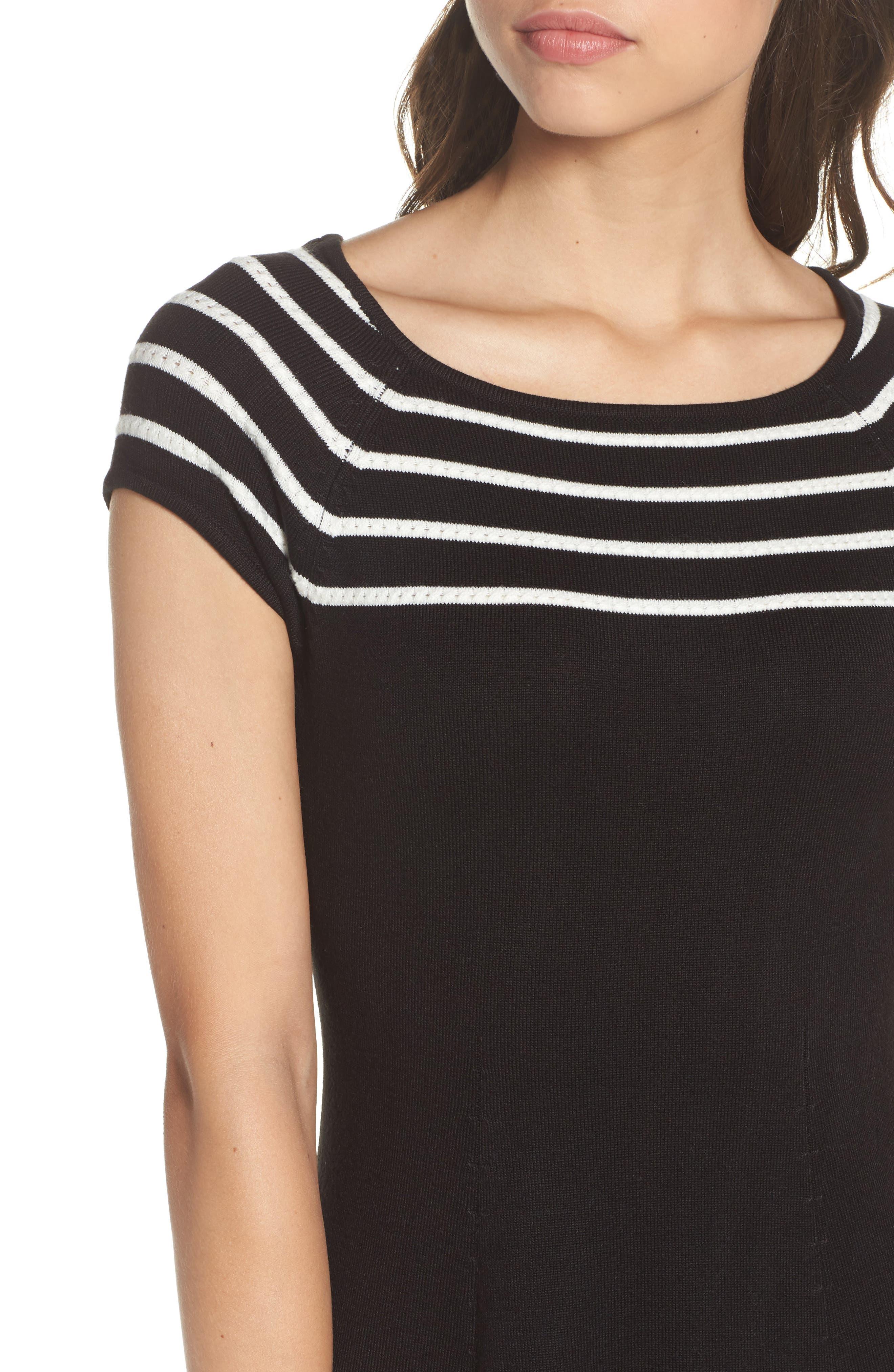 Stripe Knit Flared Dress,                             Alternate thumbnail 5, color,                             001