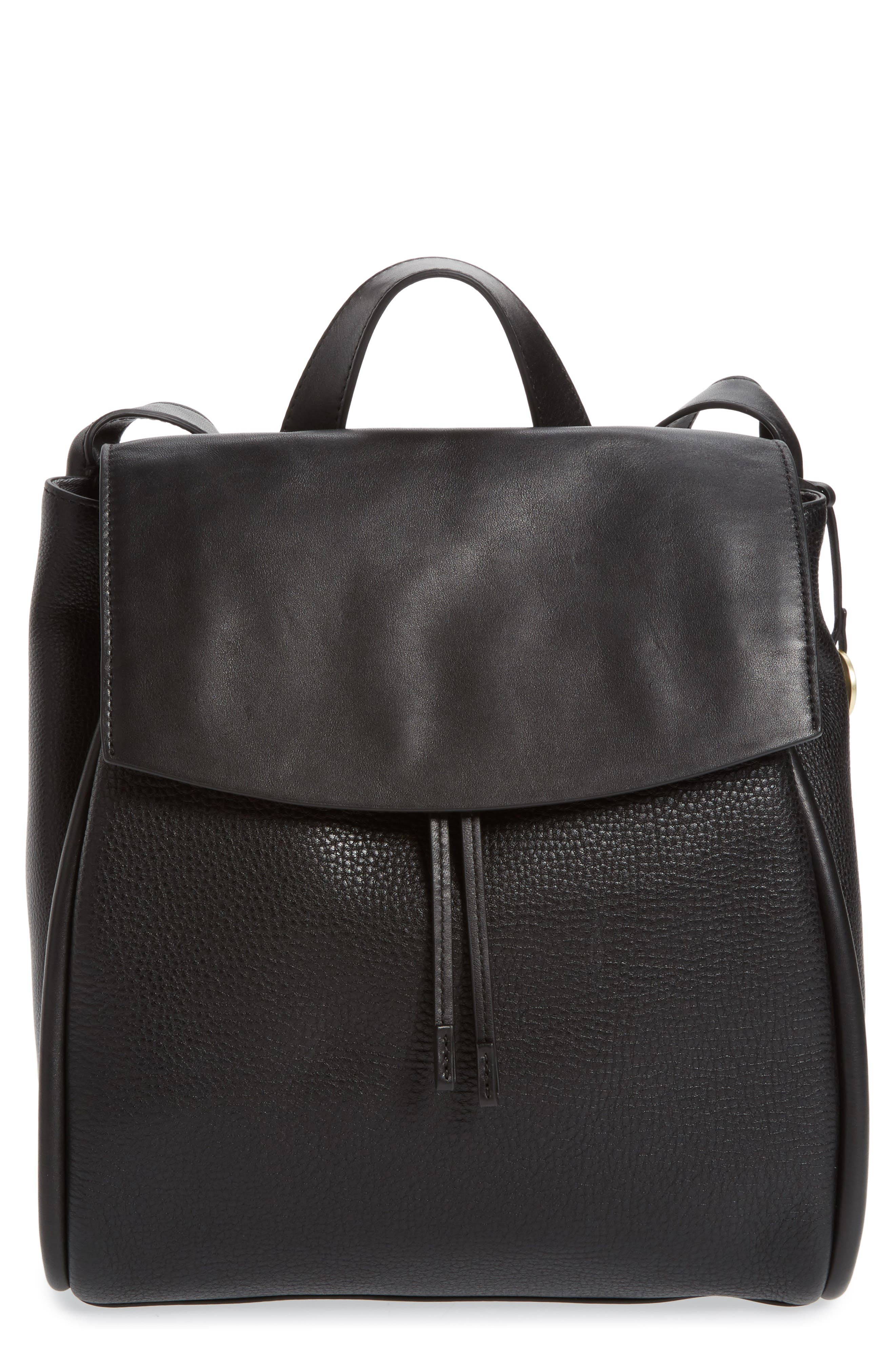 Ebba Leather Backpack, Main, color, 001