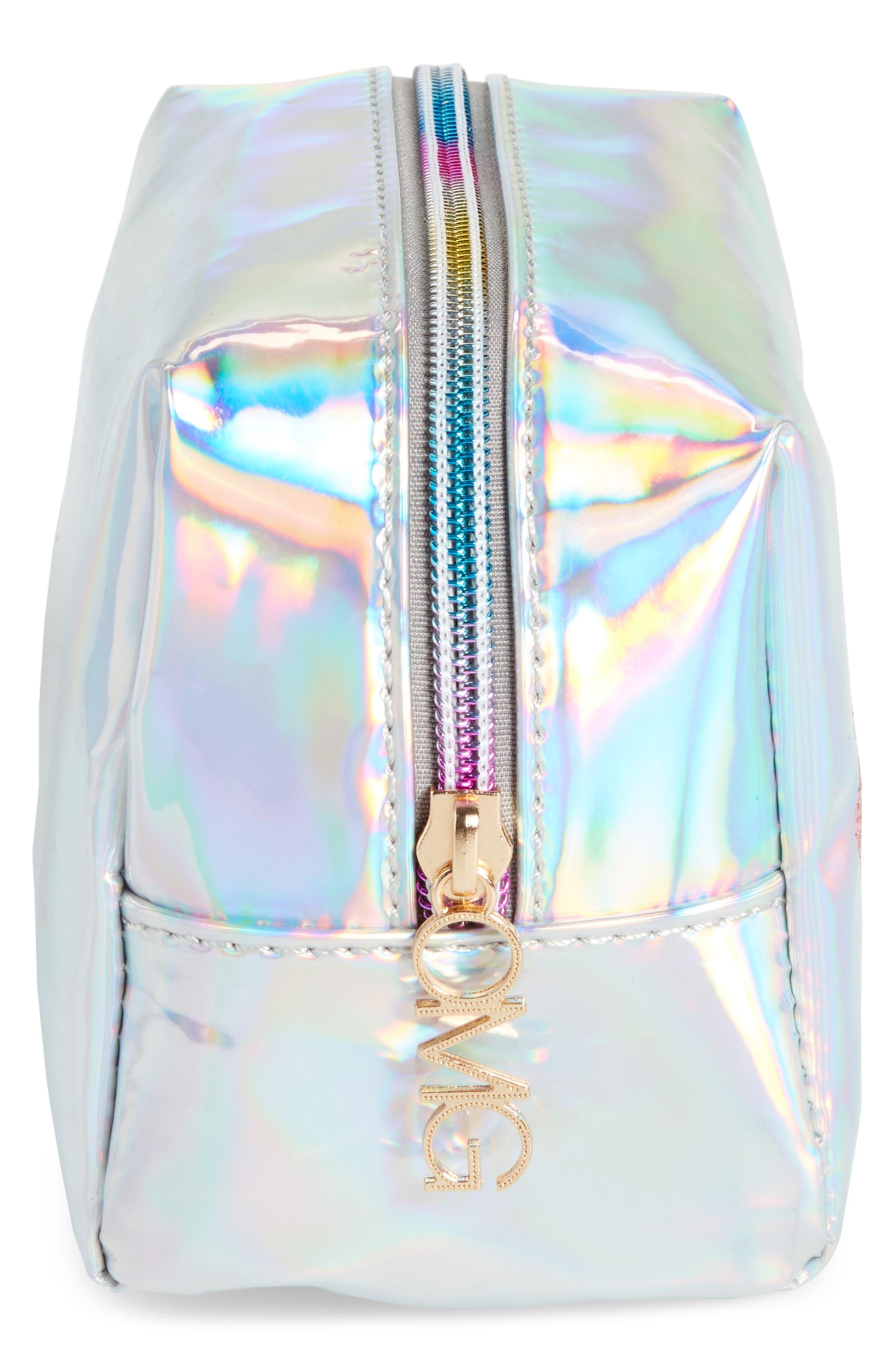 Glitter Eye Iridescent Cosmetics Bag,                             Alternate thumbnail 4, color,                             040