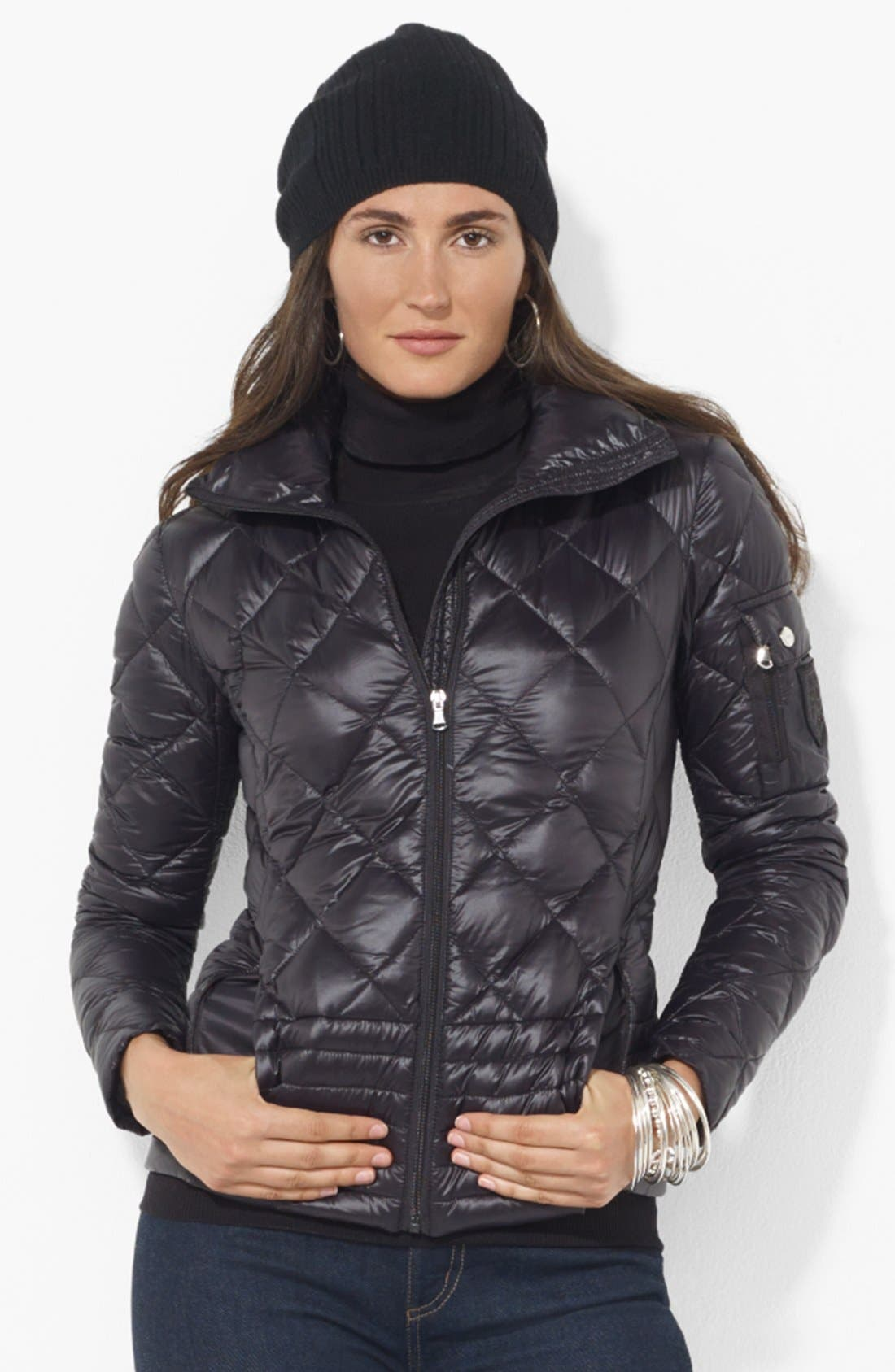 LAUREN RALPH LAUREN Mixed Quilt Packable Down Jacket, Main, color, 001