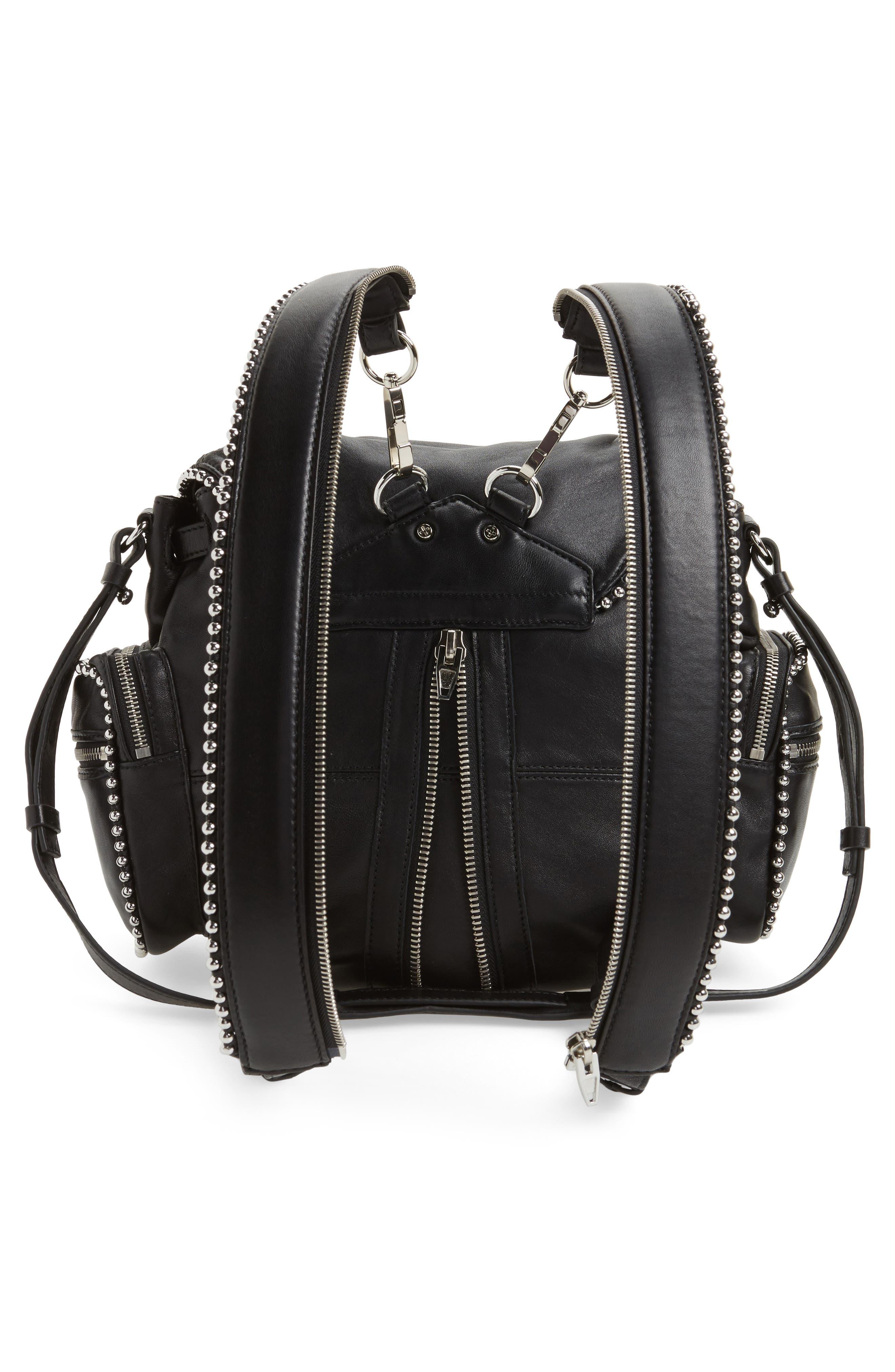 Mini Marti Ball Stud Leather Backpack,                             Alternate thumbnail 3, color,                             001