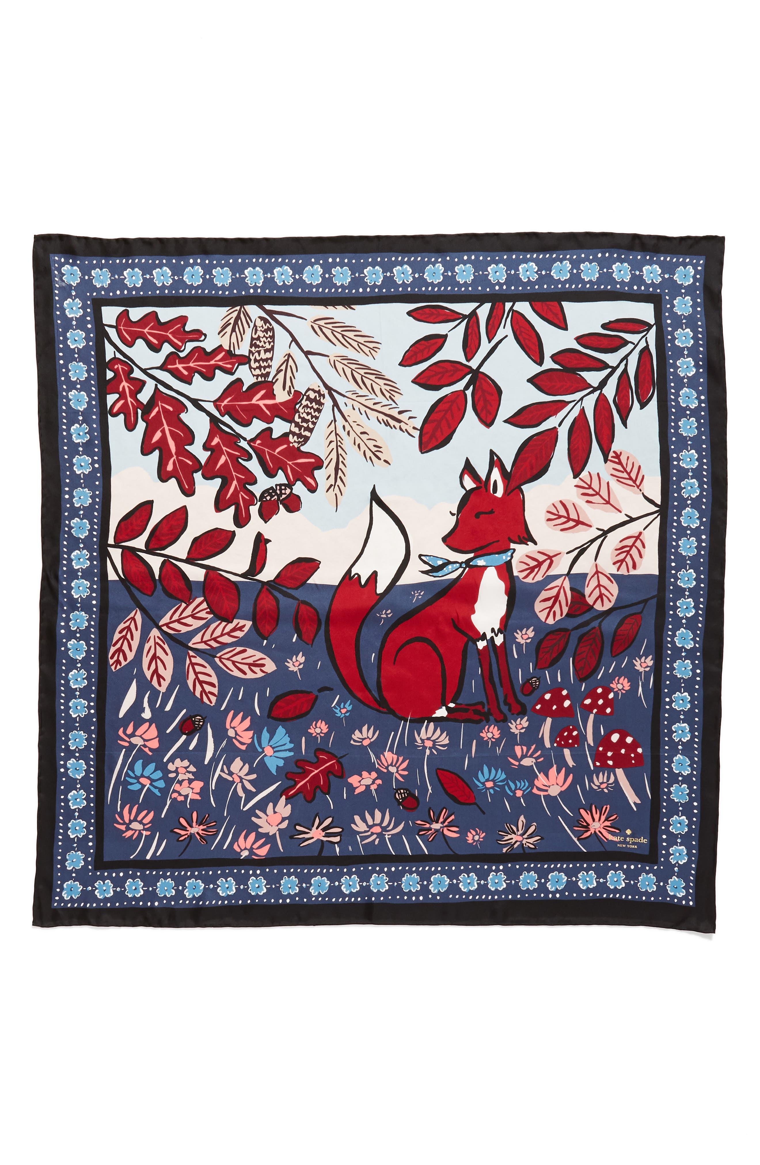 fox scene square silk scarf,                             Alternate thumbnail 3, color,                             001