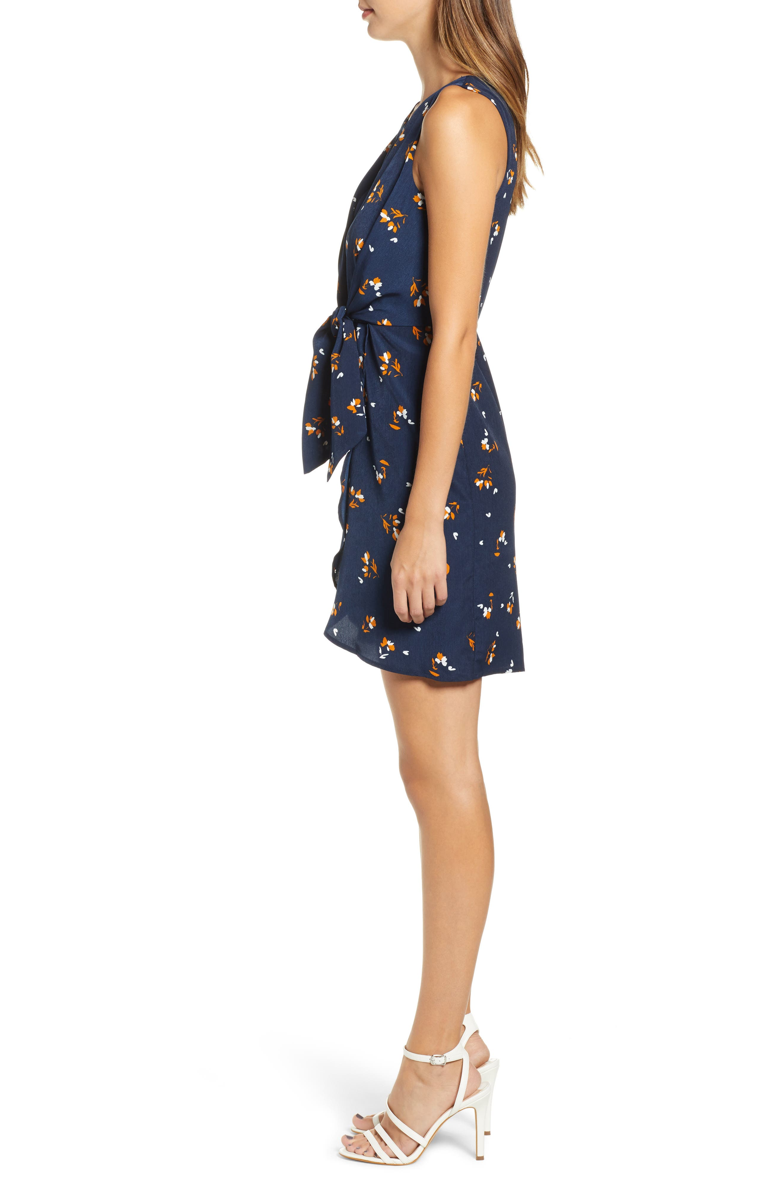 Tie-Front Mini Dress,                             Alternate thumbnail 3, color,                             NAVY EVENING DITSY FLORAL