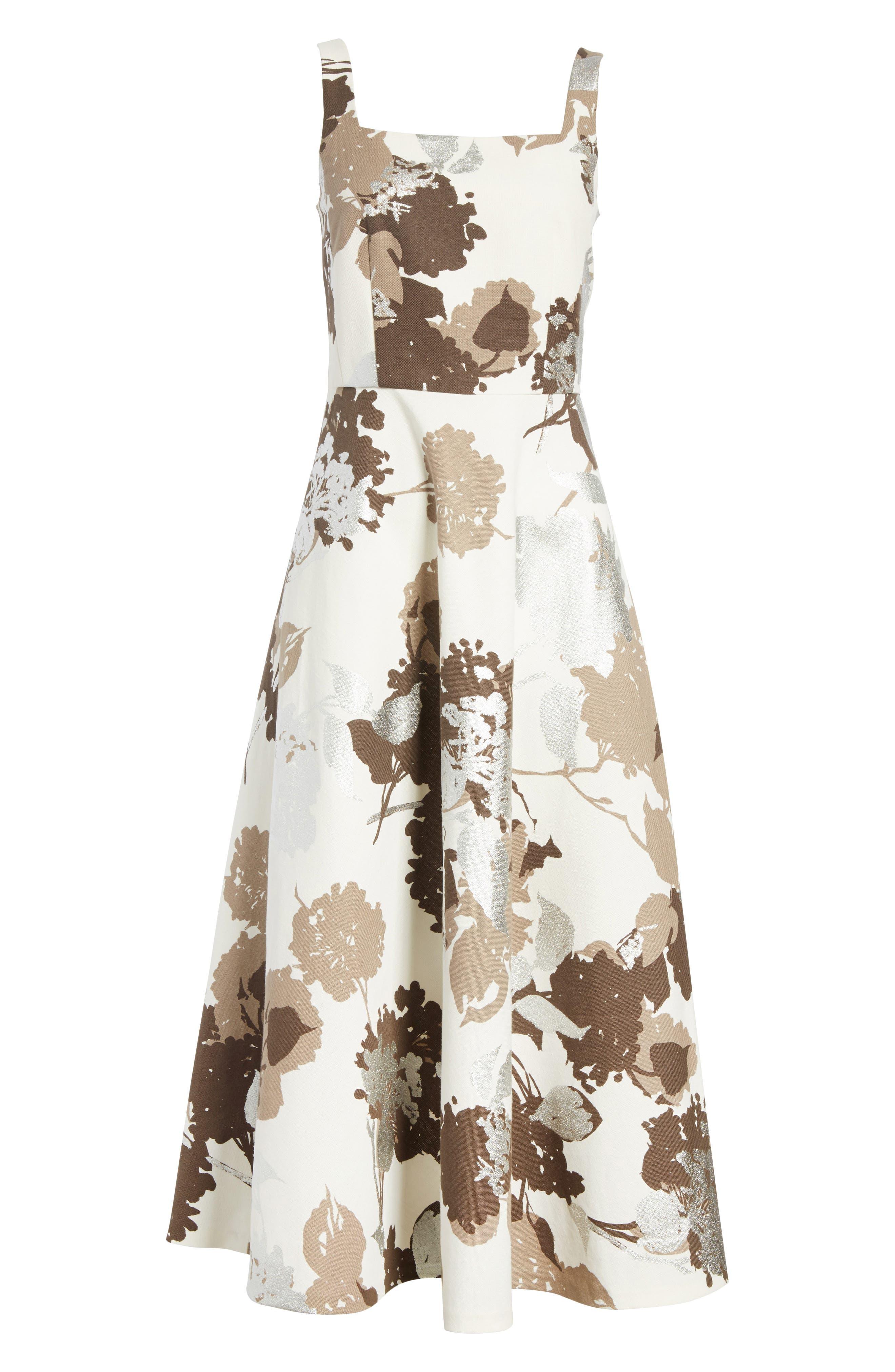 Arlene Print Midi Dress,                             Alternate thumbnail 6, color,                             125