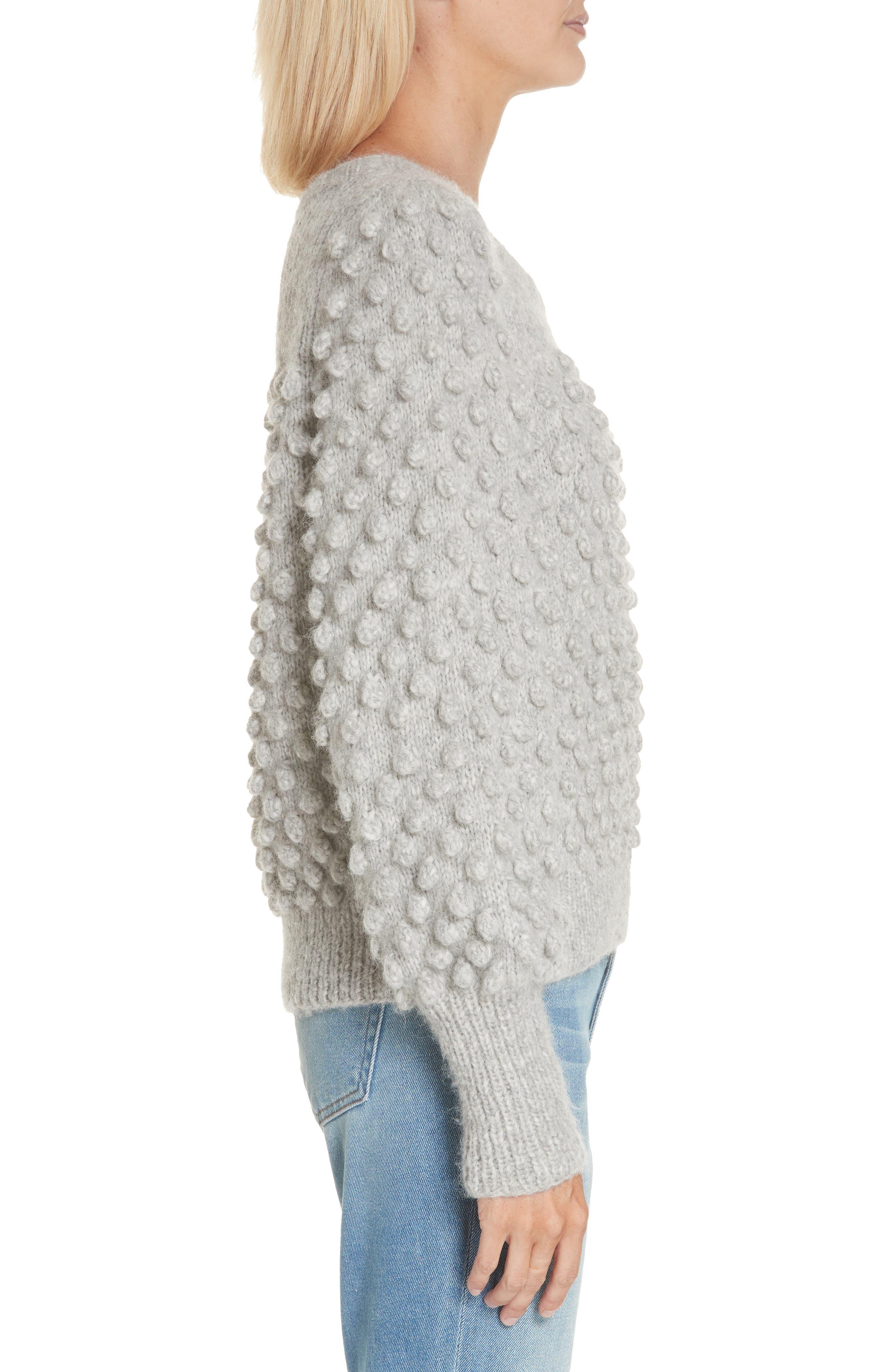 Camilla Baby Alpaca Blend Sweater,                             Alternate thumbnail 3, color,                             PALE MELANGE GREY