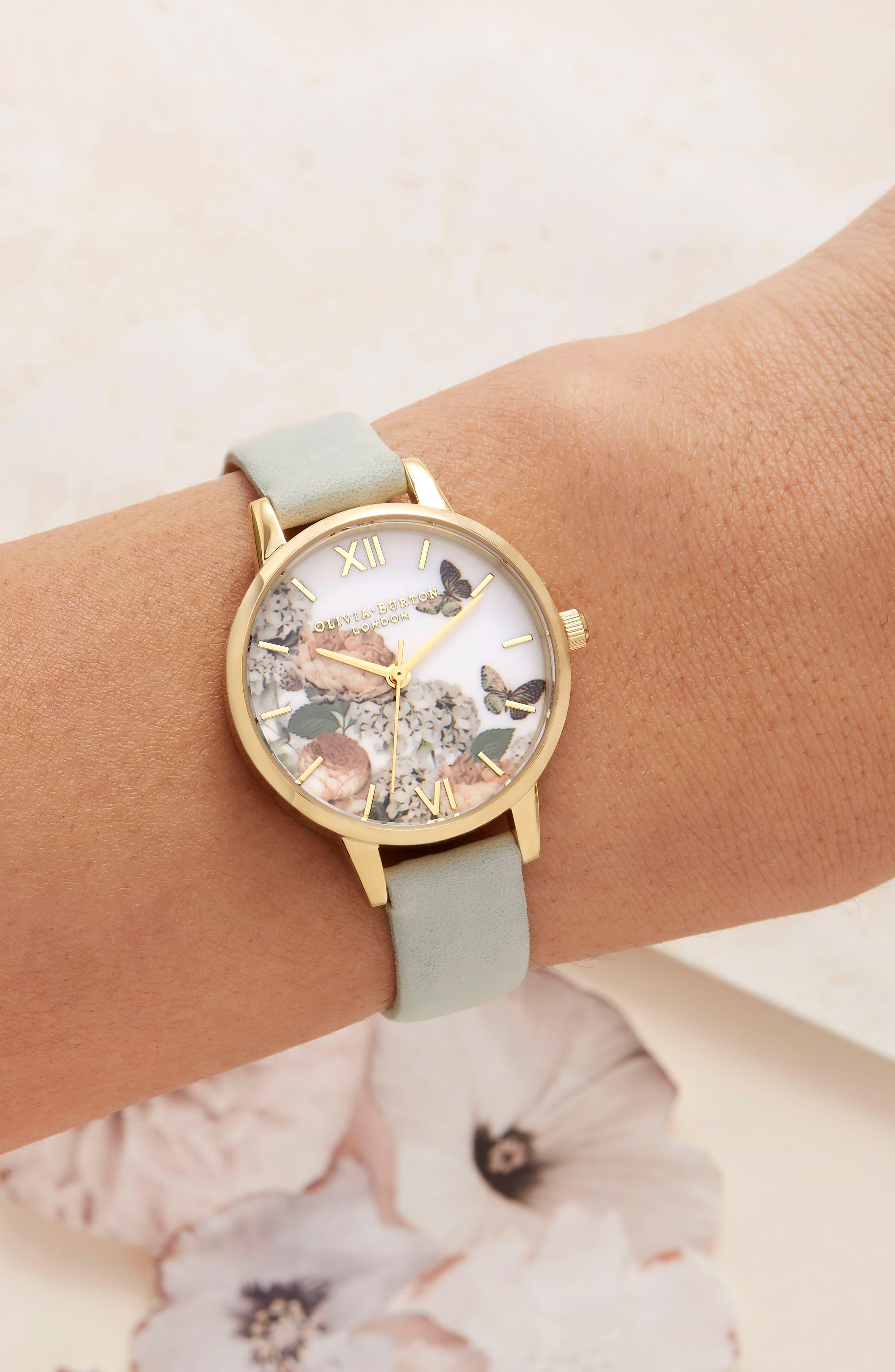Signature Floral Leather Strap Watch, 30mm,                             Alternate thumbnail 5, color,                             SAGE/ FLORAL/ GOLD