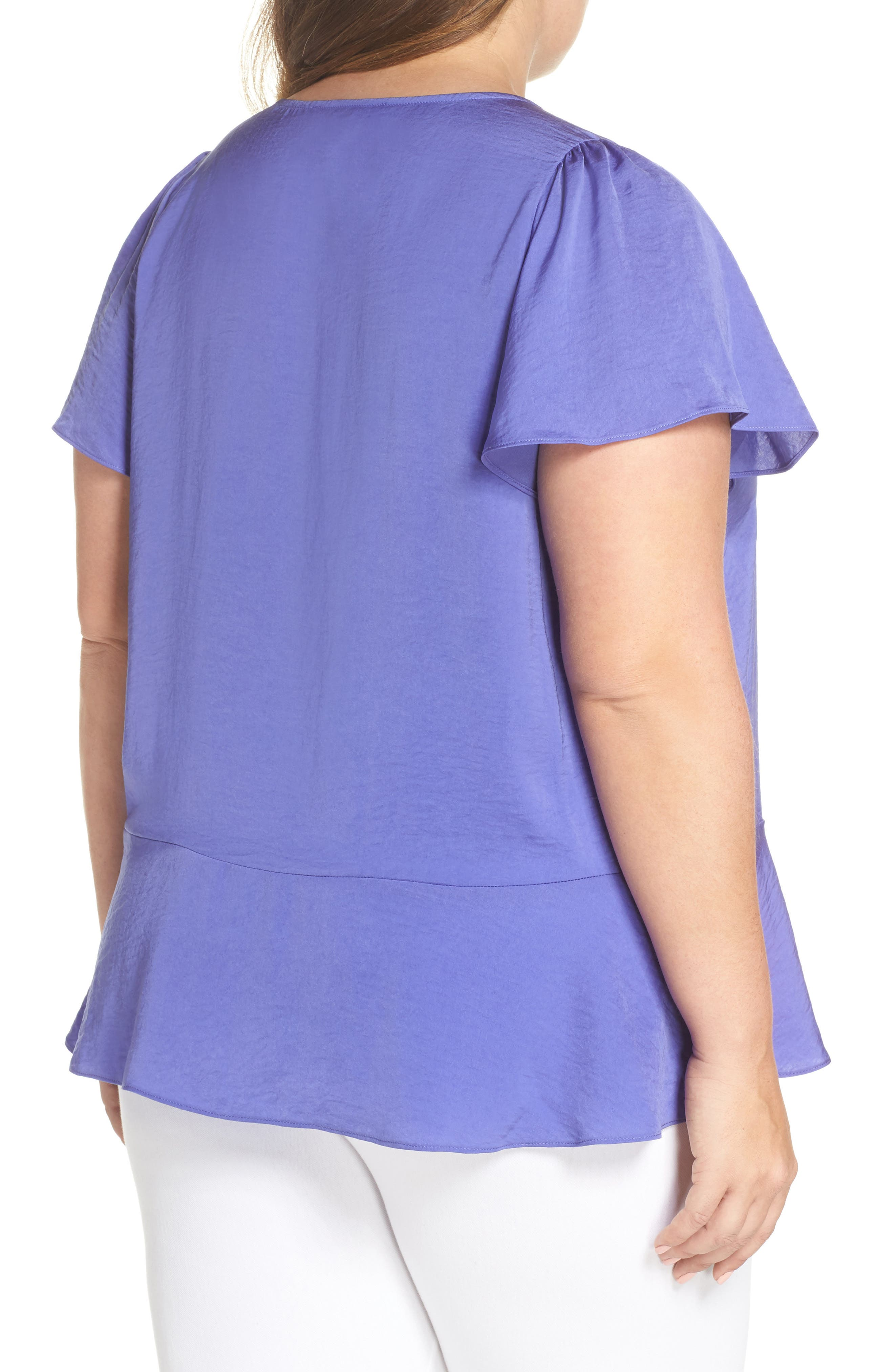 Double Ruffle Hammered Satin Top,                             Alternate thumbnail 2, color,