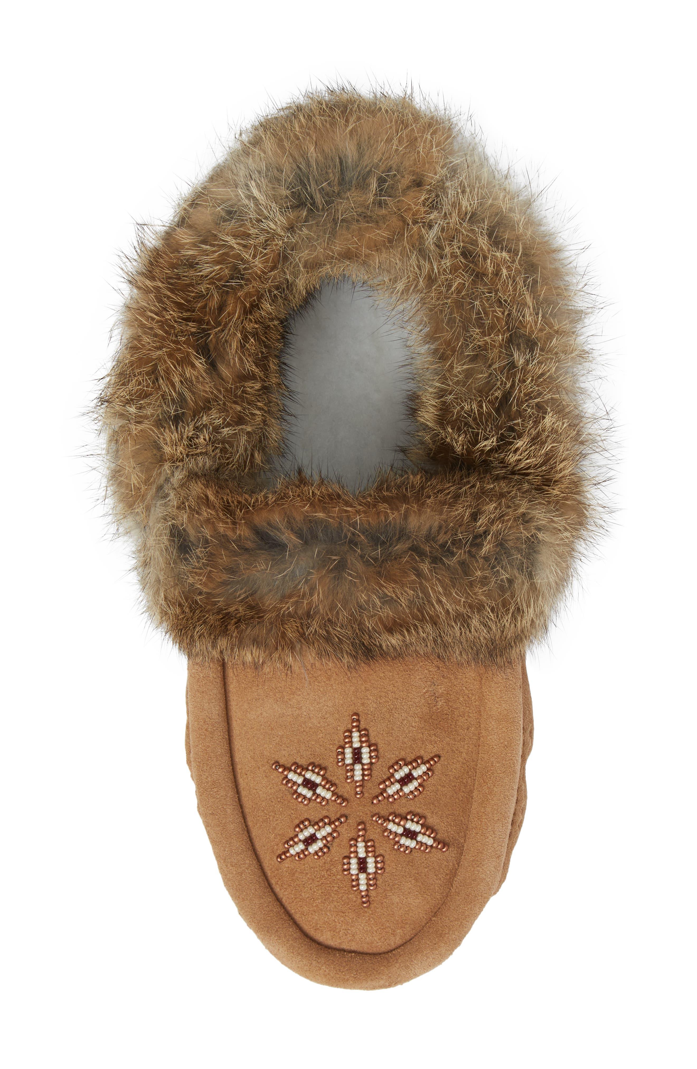 'Kanada' Genuine Rabbit Fur & Suede Moccasin Slipper,                             Alternate thumbnail 5, color,                             OAK FUR