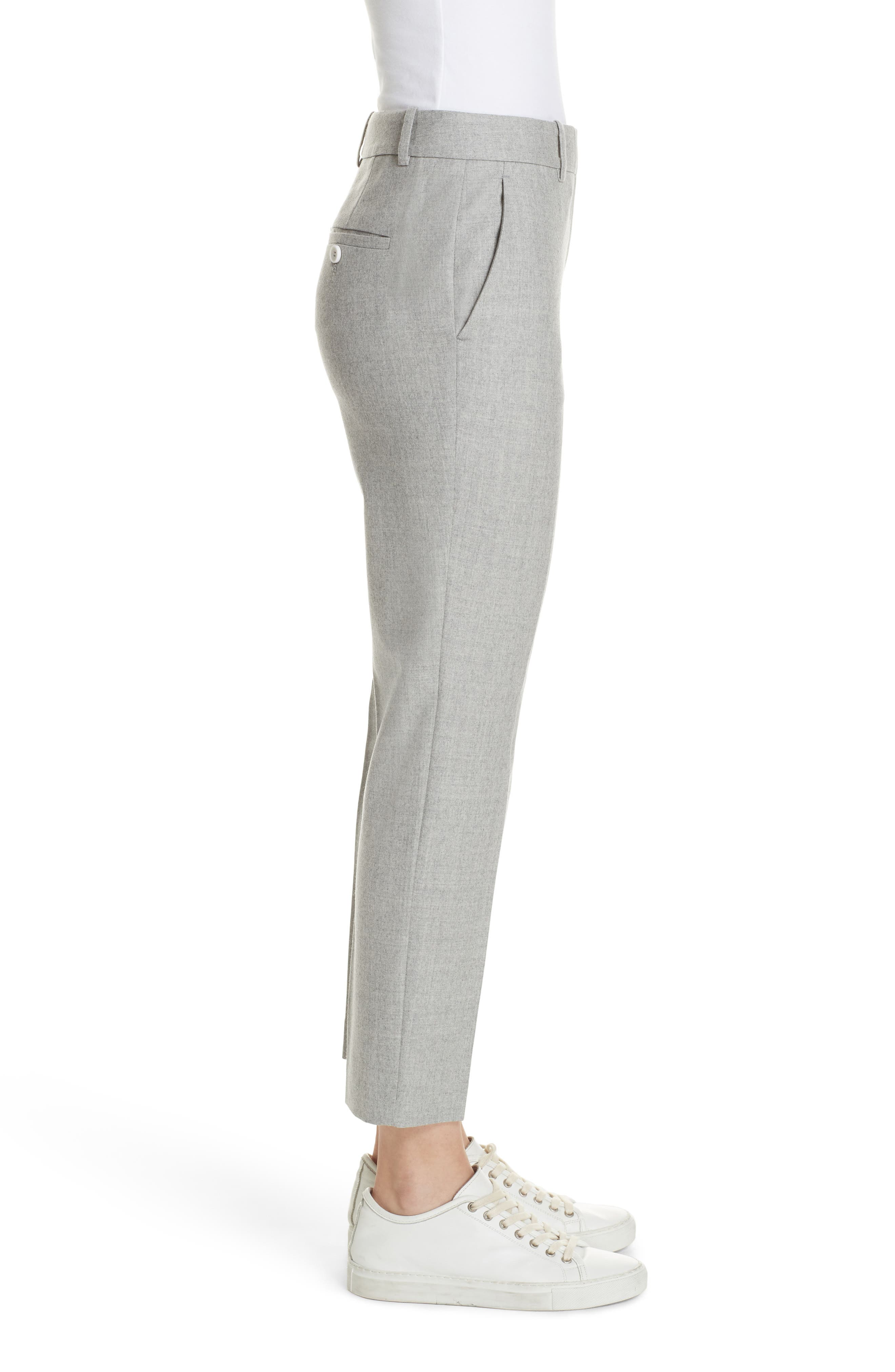 Treeca Flannel Ankle Pants,                             Alternate thumbnail 3, color,                             PALE GREY