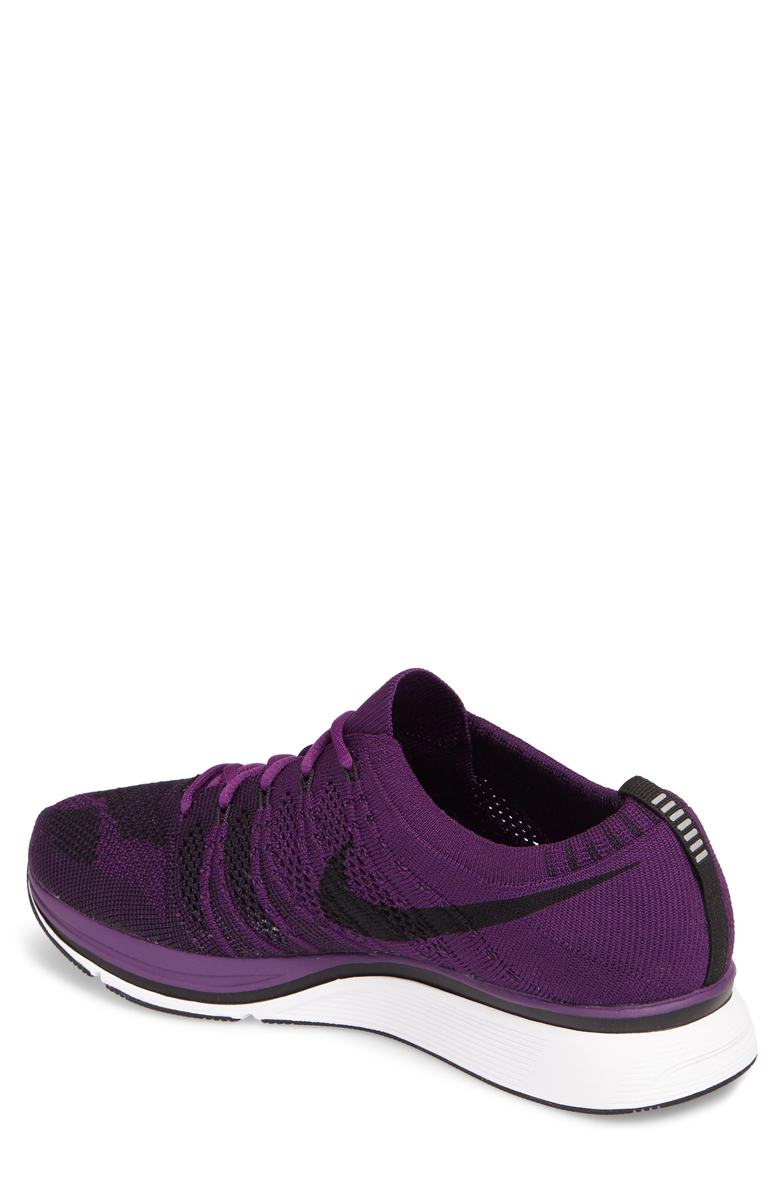 NikeLab Flyknit Trainer Sneaker,                             Alternate thumbnail 2, color,                             NIGHT PURPLE/ BLACK/ WHITE