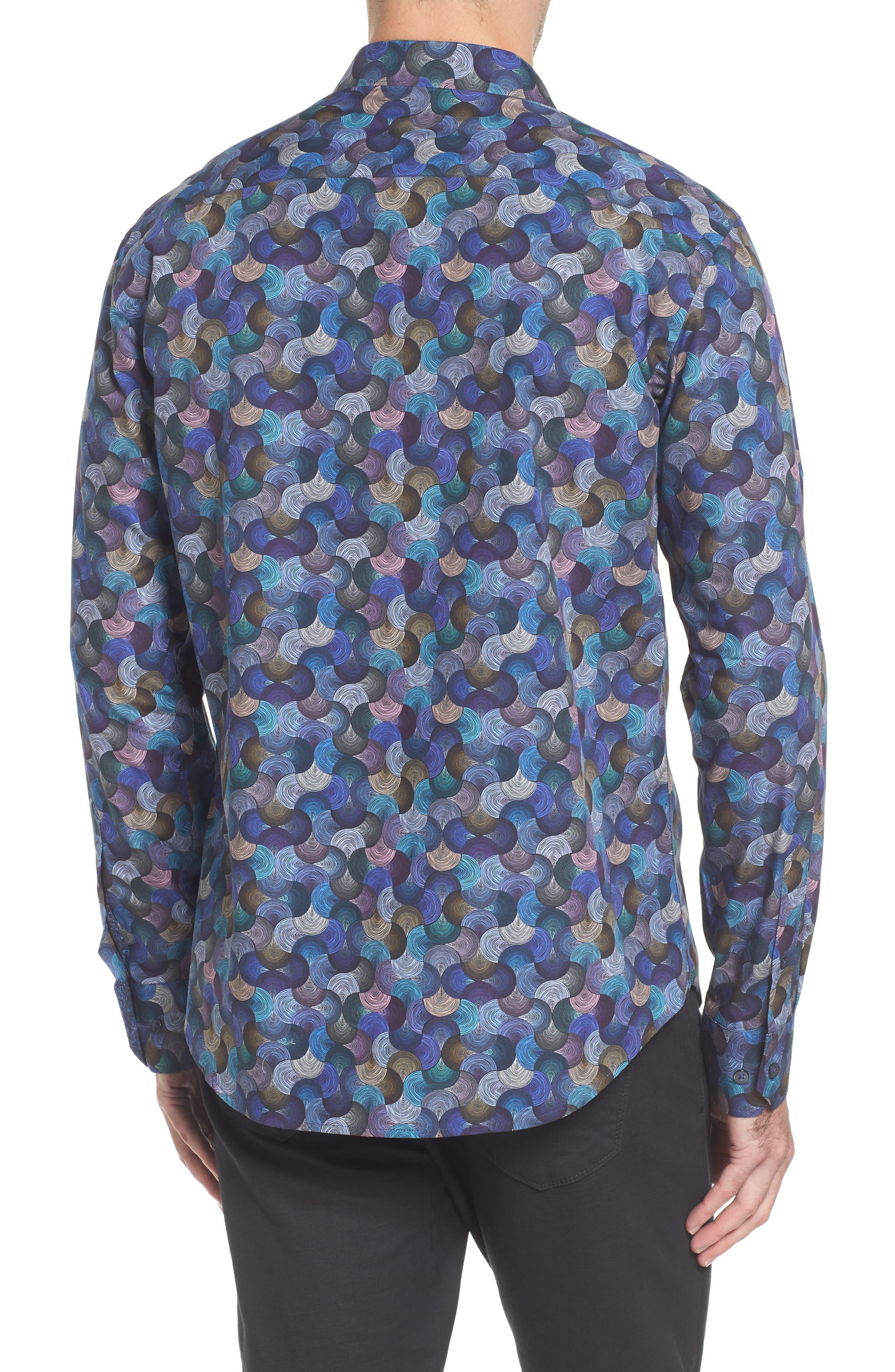 Slim Fit Swirl Print Sport Shirt,                             Alternate thumbnail 2, color,                             030