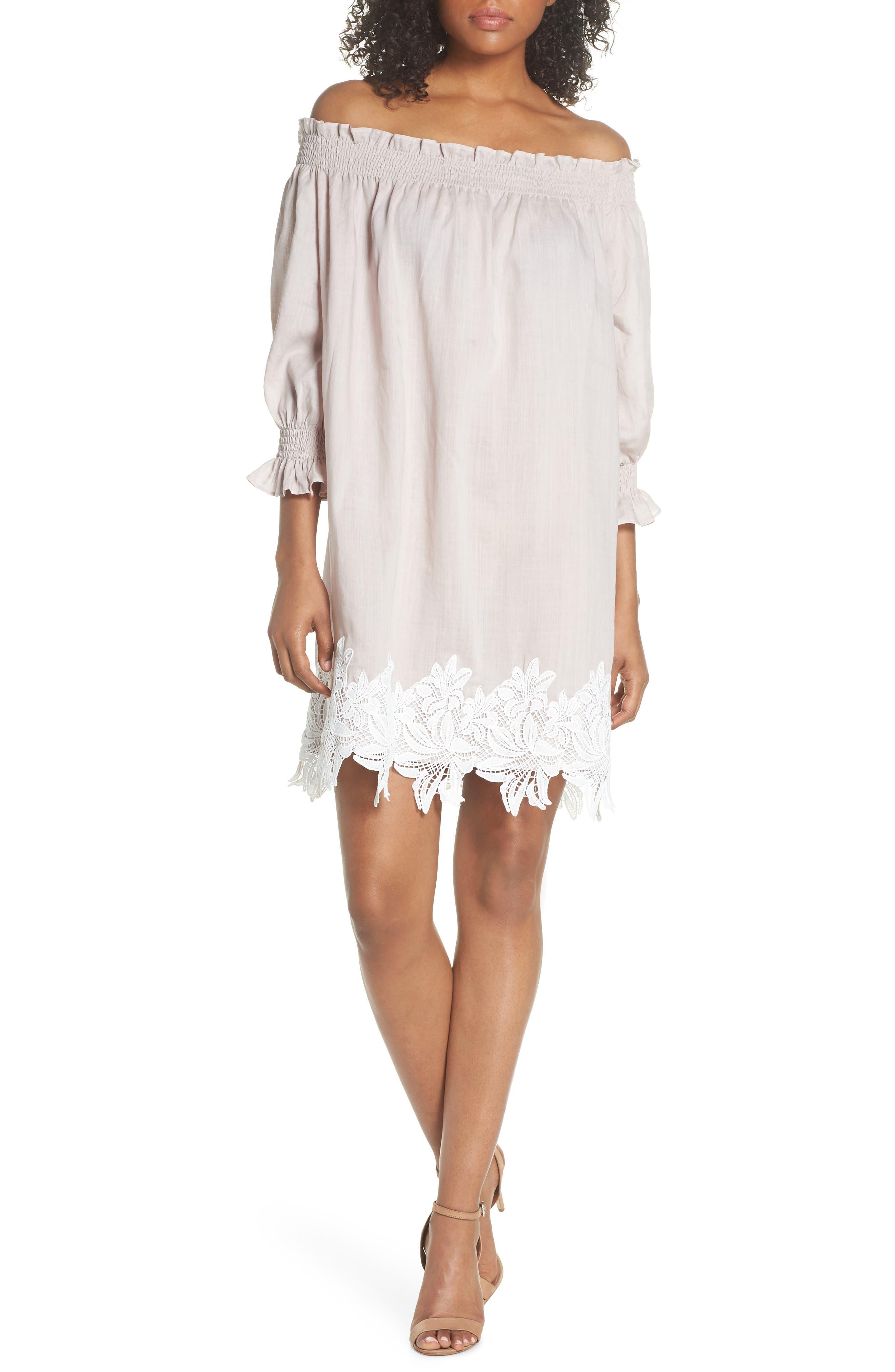 Hudson Off the Shoulder Lace Hem Linen Dress,                         Main,                         color, 650