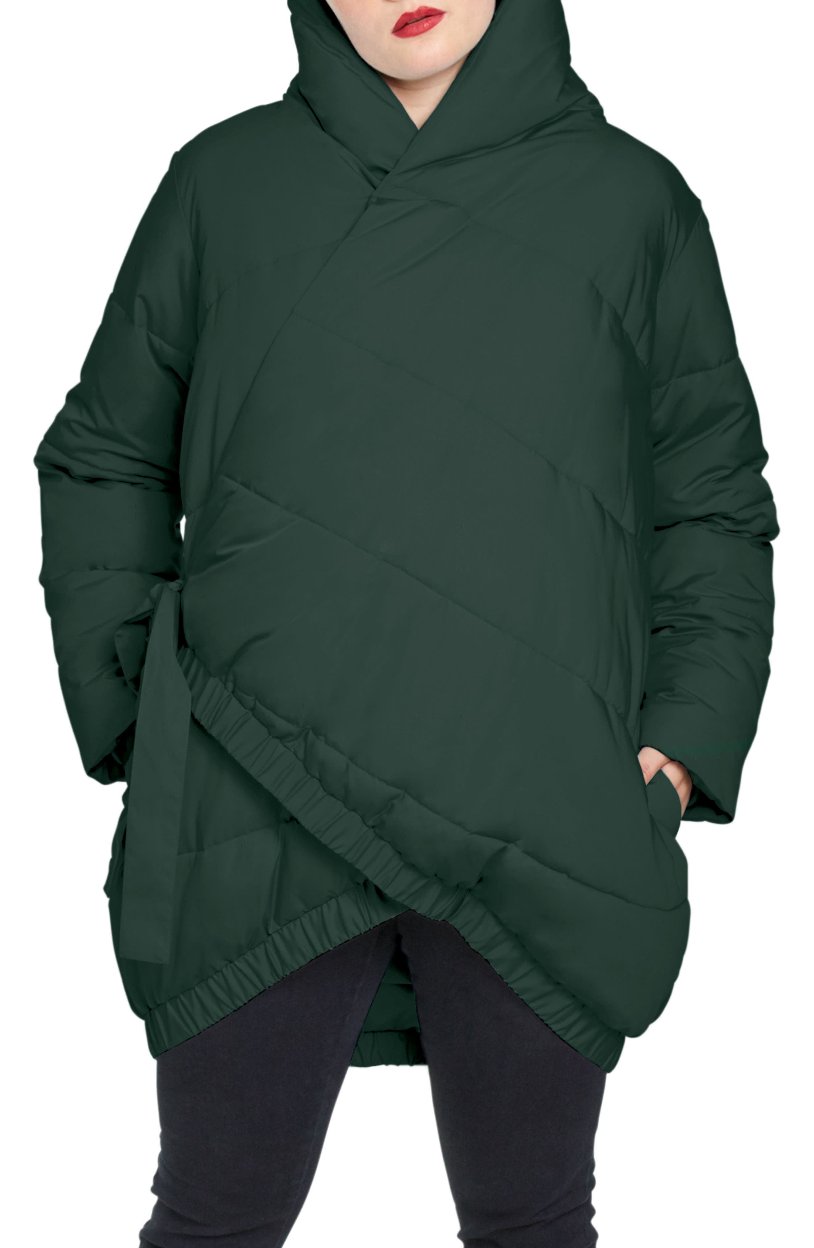 UNIVERSAL STANDARD,                             Kanda Puffer Coat,                             Main thumbnail 1, color,                             HUNTER GREEN