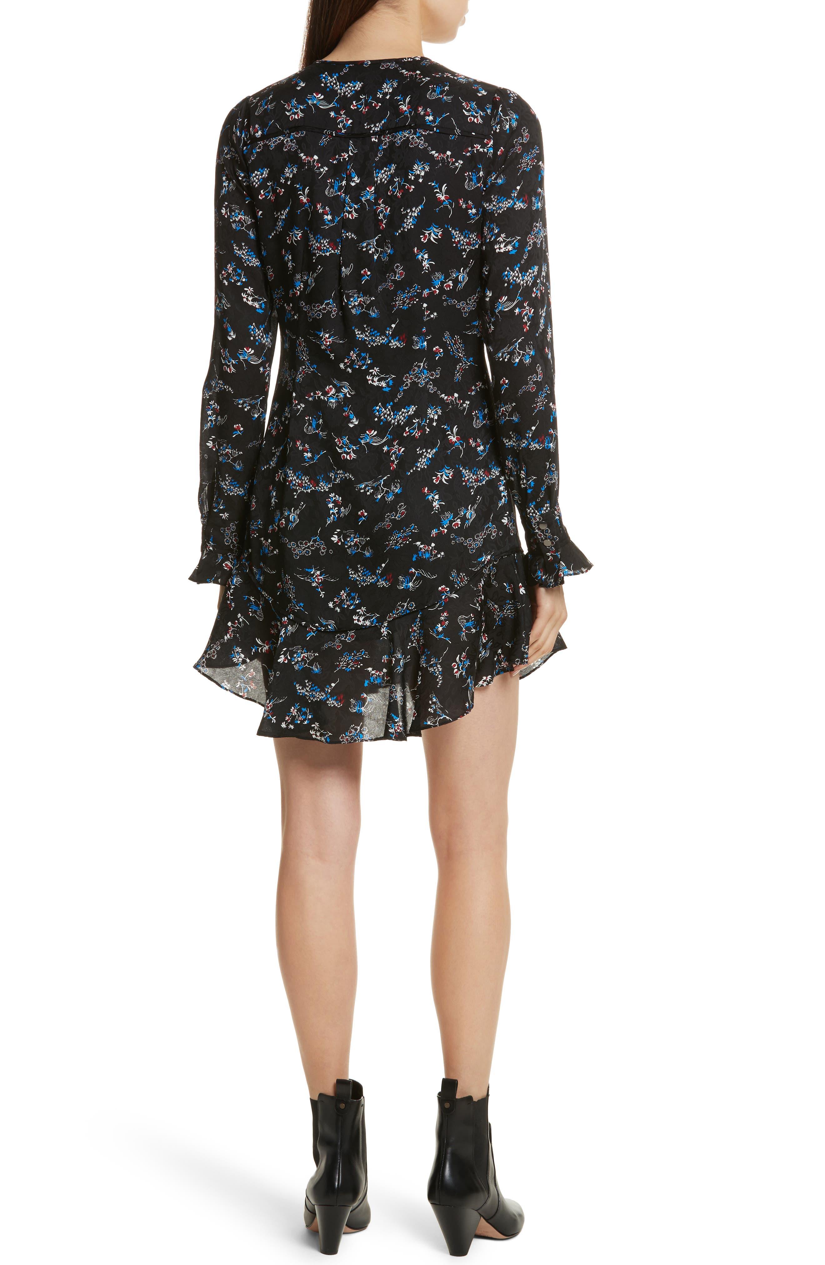 Preston Floral Print Silk Dress,                             Alternate thumbnail 2, color,                             001
