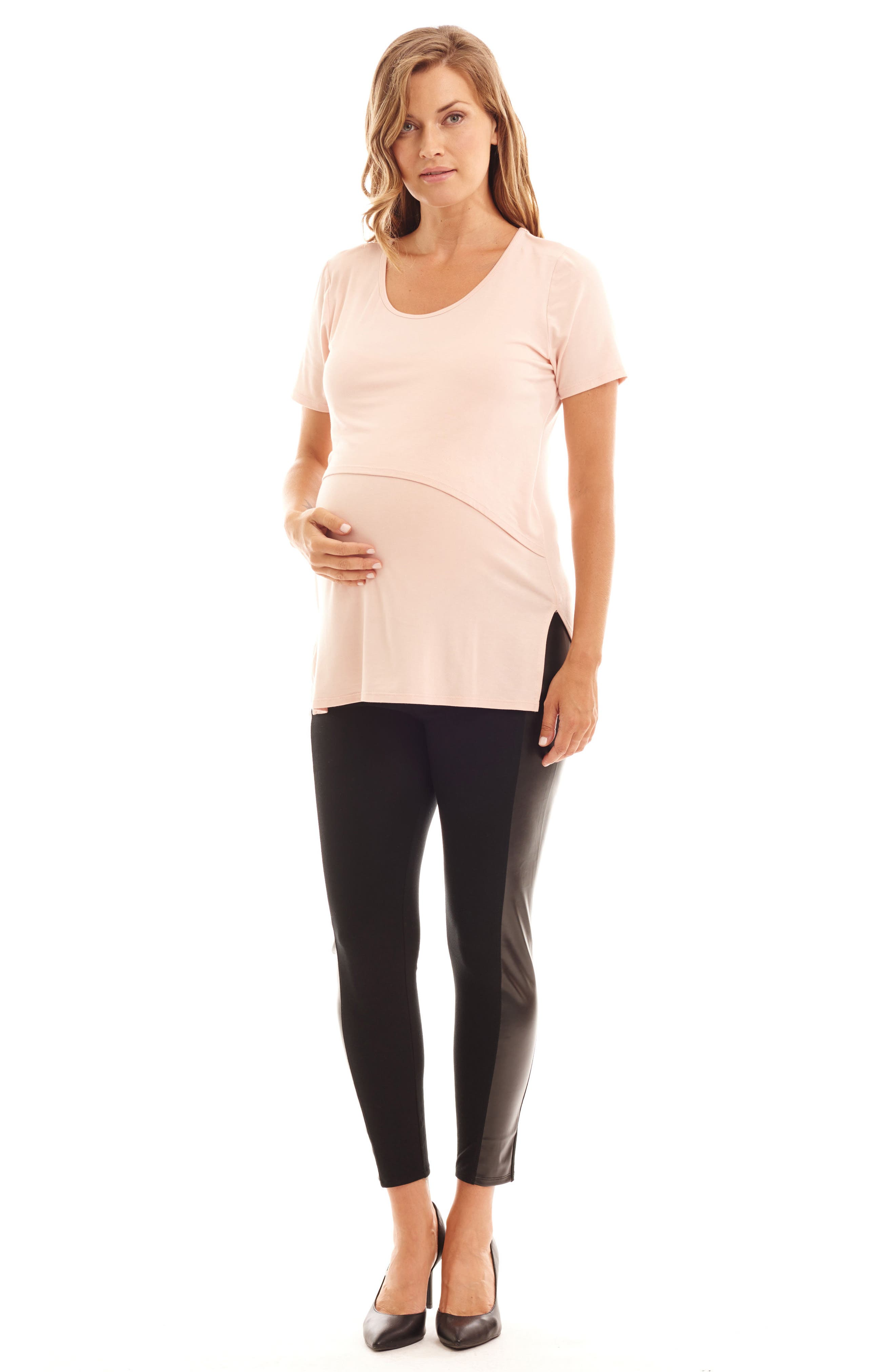Ella Faux Leather & Knit Maternity Leggings,                             Alternate thumbnail 4, color,                             001
