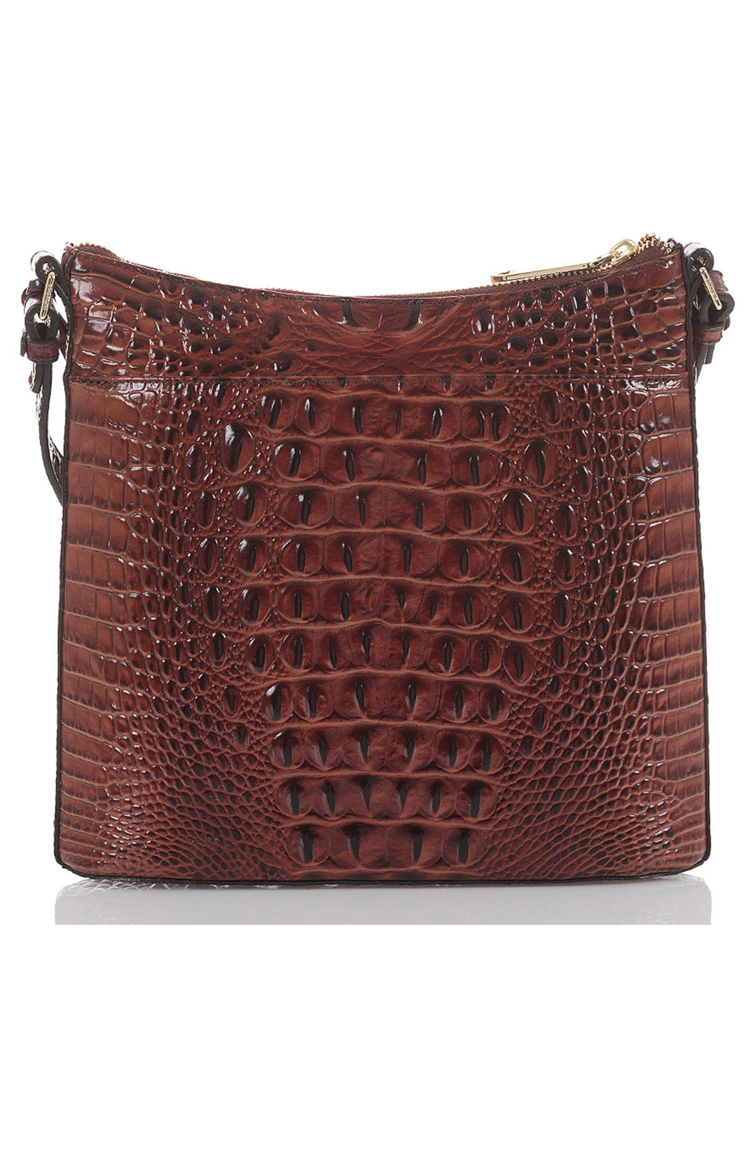 Katie Croc Embossed Leather Crossbody Bag,                             Alternate thumbnail 2, color,                             PECAN