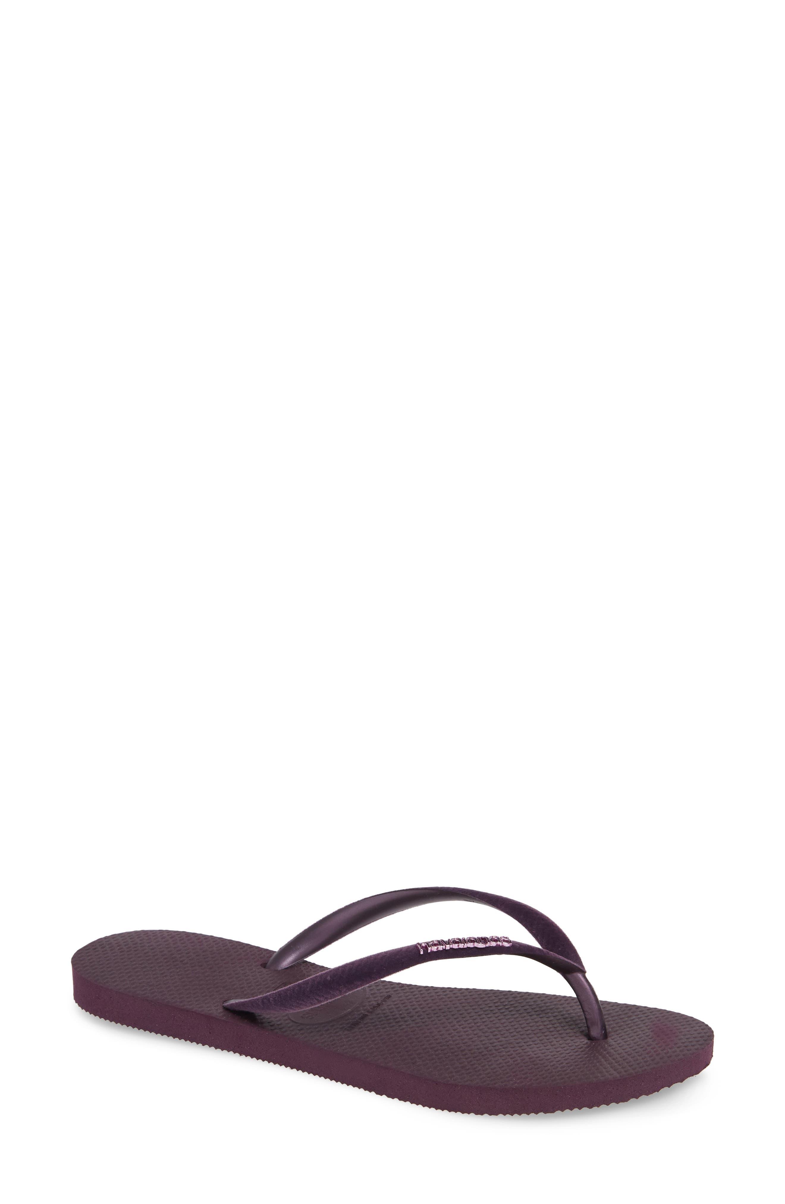 Slim Velvet Flip Flop,                             Main thumbnail 1, color,                             AUBERGINE