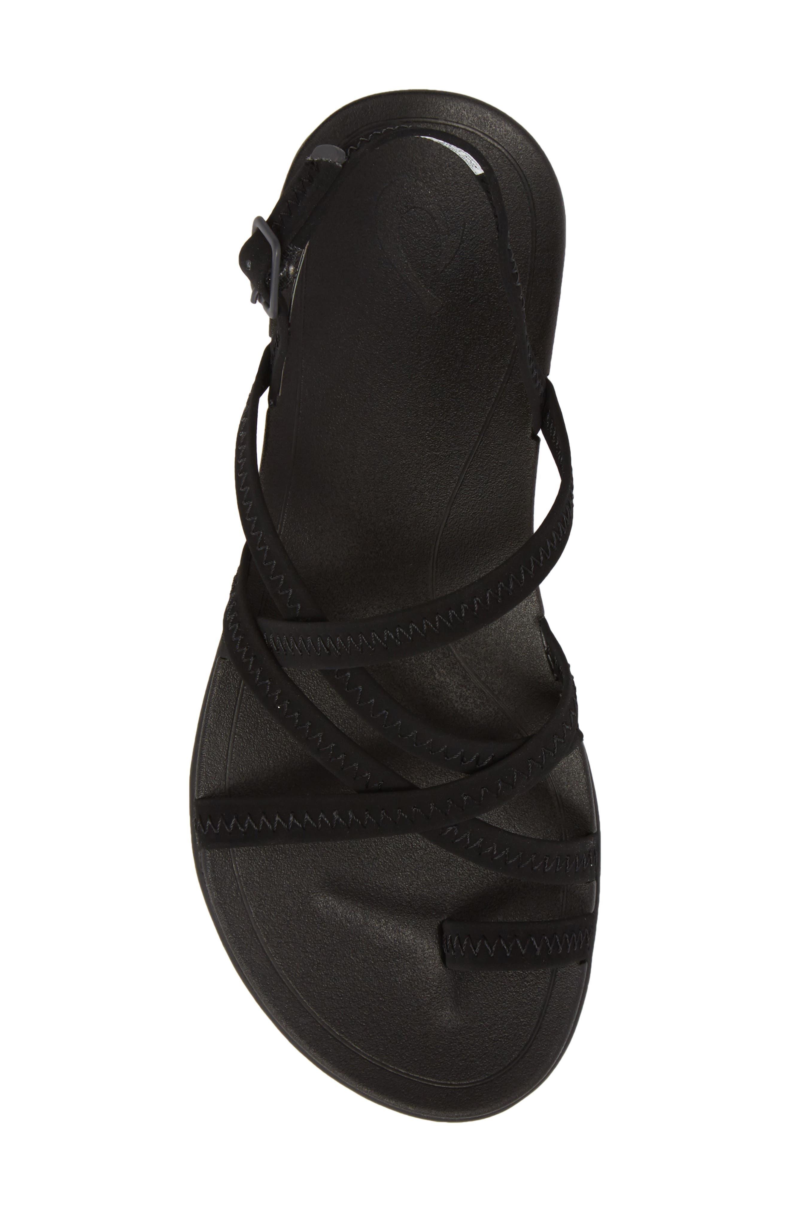 Kalapu Sandal,                             Alternate thumbnail 5, color,                             BLACK/ BLACK FAUX LEATHER