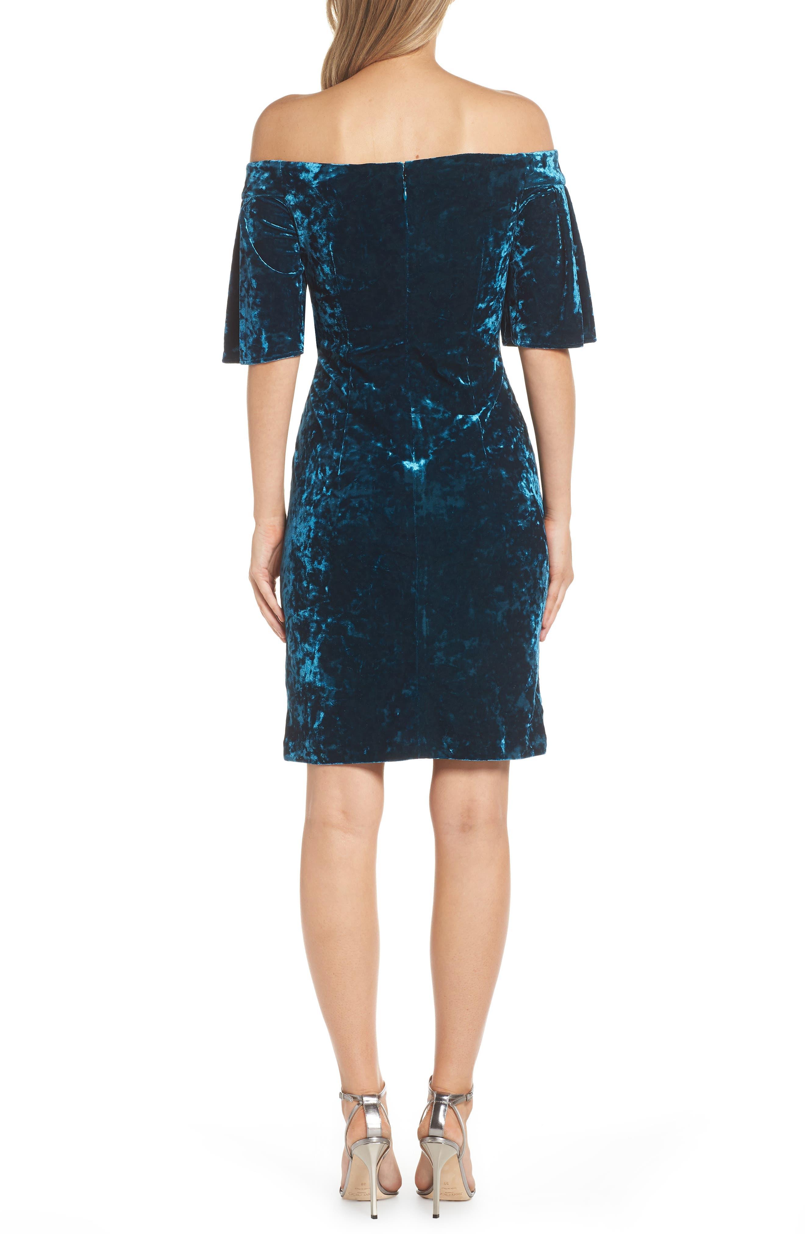 Off the Shoulder Velvet Dress,                             Alternate thumbnail 2, color,                             PEACOCK