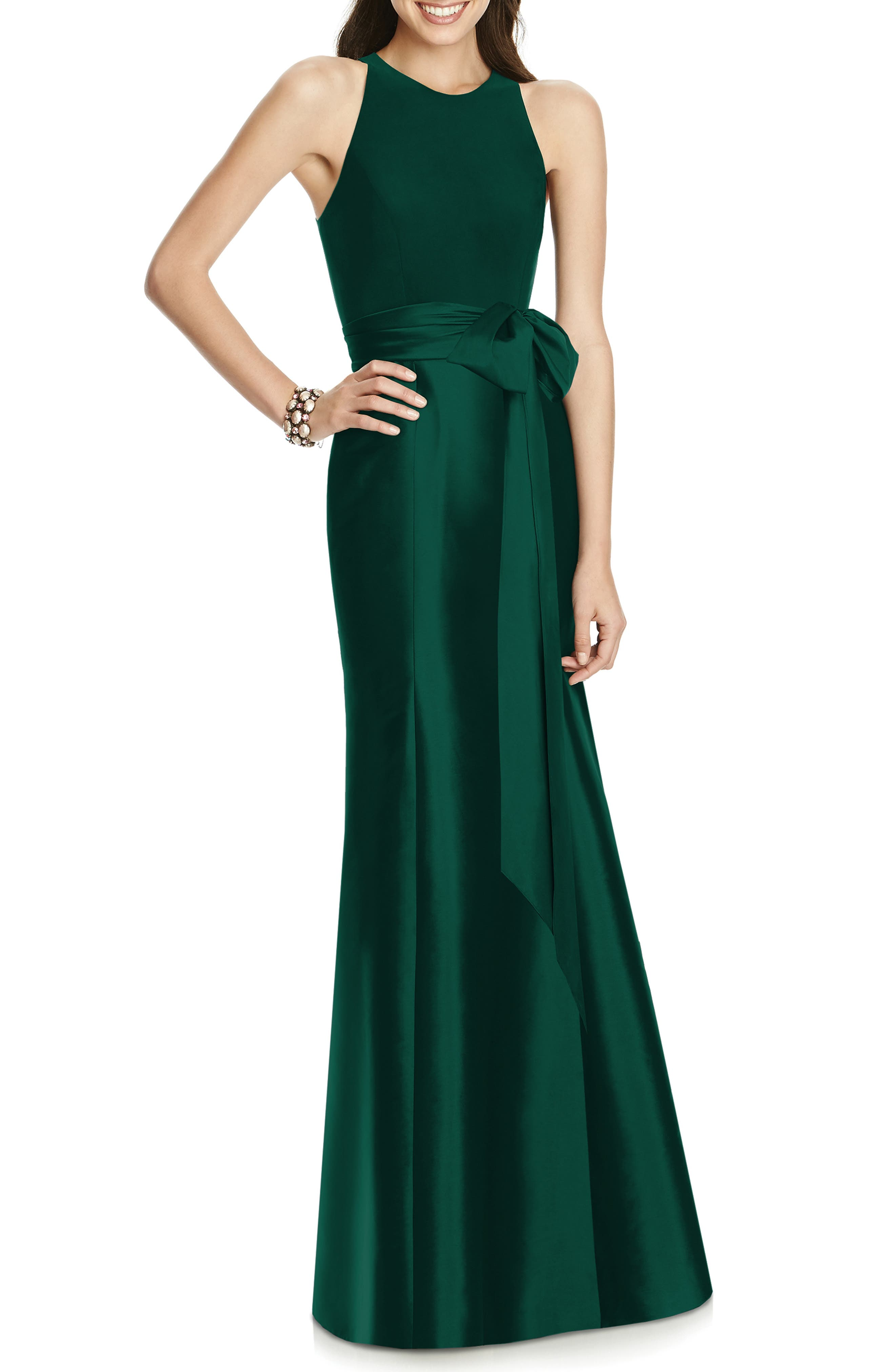 ALFRED SUNG Mikado Jersey Bodice Trumpet Gown, Main, color, HUNTER