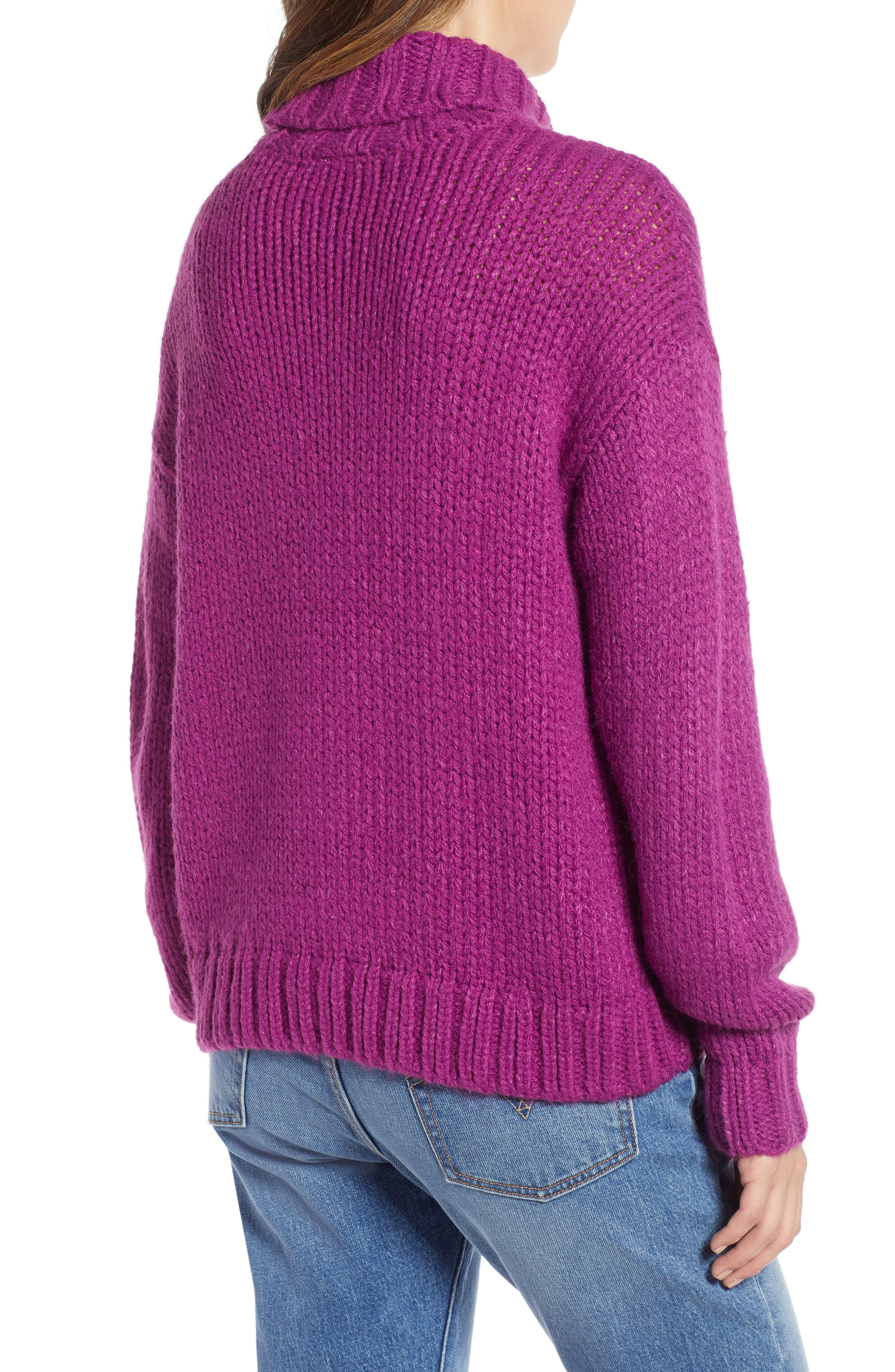 Kira Turtleneck Sweater,                             Alternate thumbnail 2, color,                             HOLLYHOCK