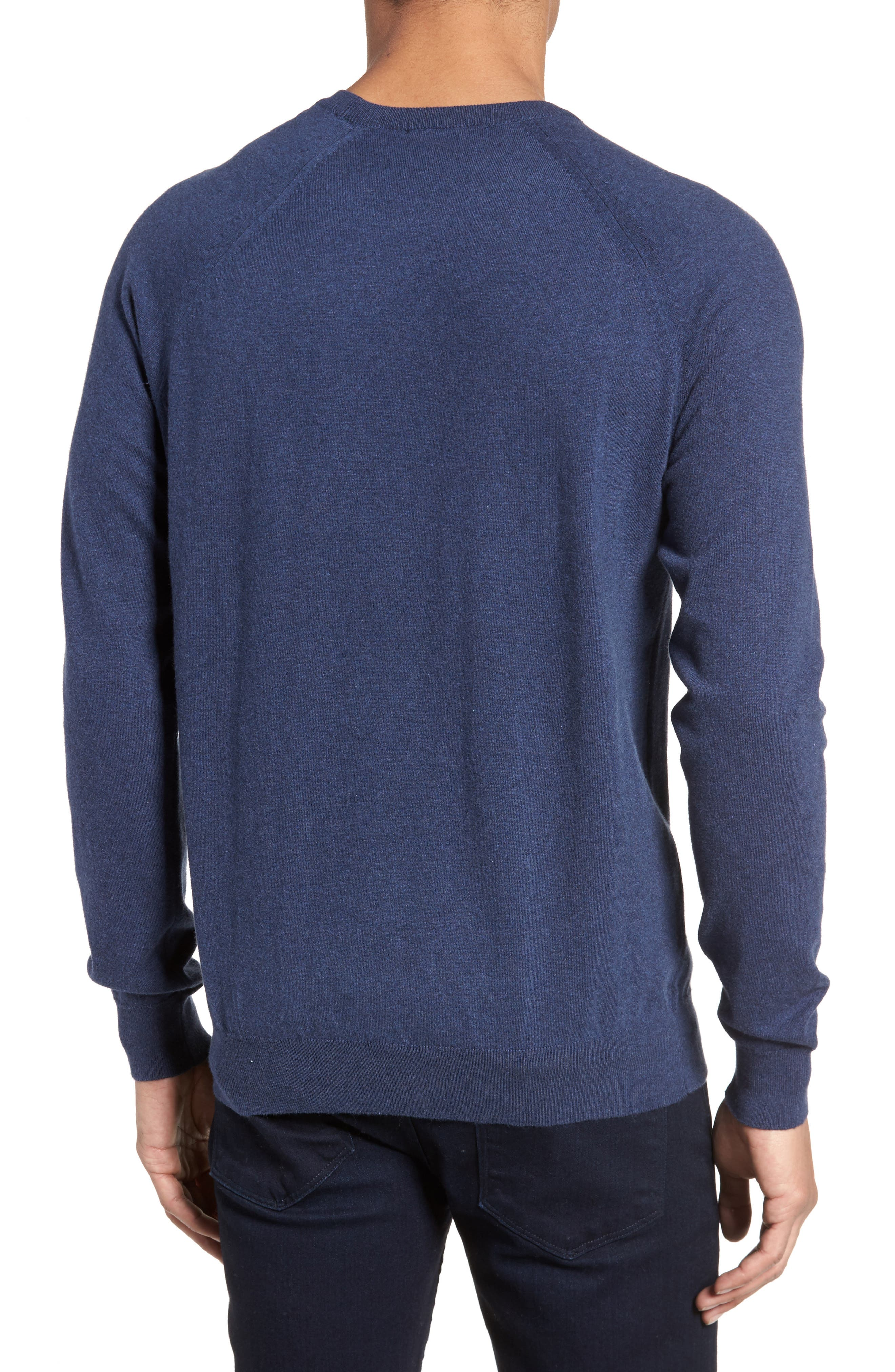 Regular Fit Stretch Cotton Sweater,                             Alternate thumbnail 2, color,                             INDIGO MELANGE
