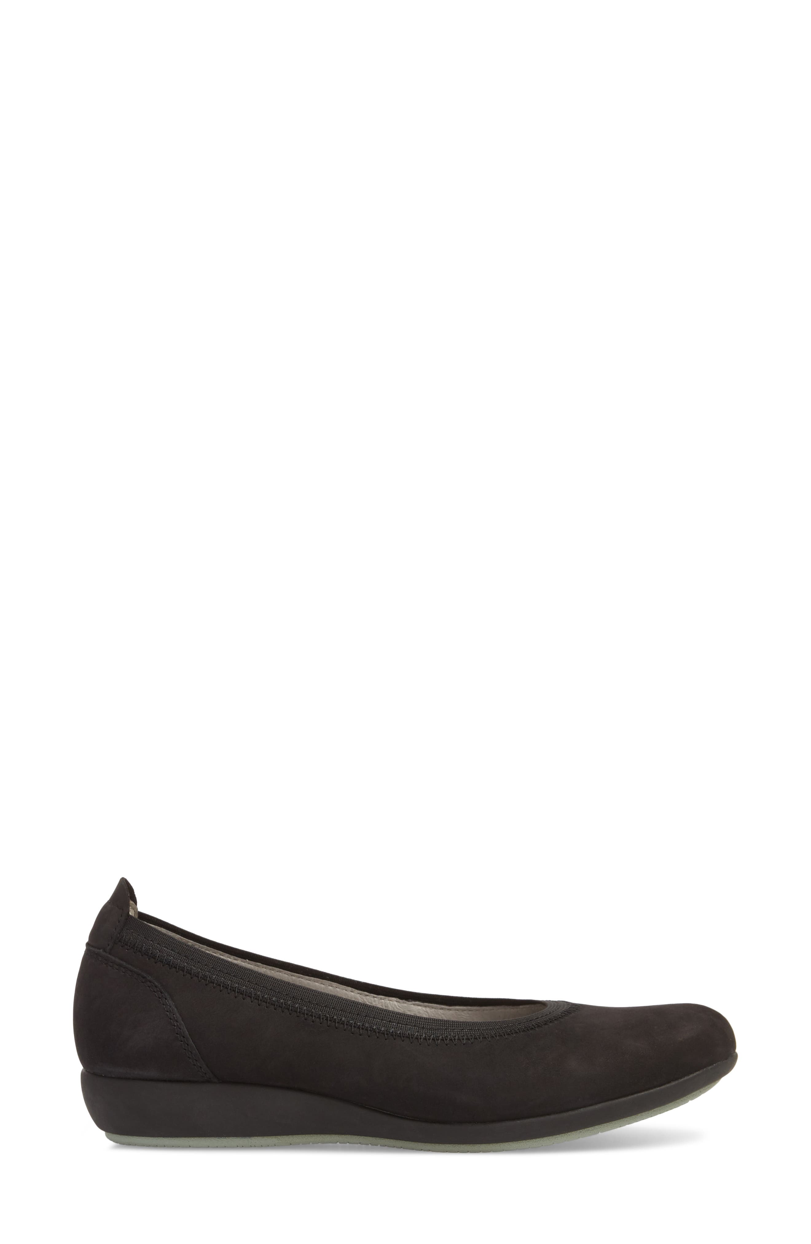 Kristen Ballet Flat,                             Alternate thumbnail 3, color,                             BLACK MILLED NUBUCK