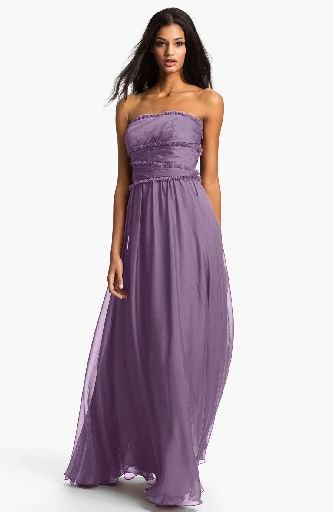 ML Monique Lhuillier Bridesmaids Strapless Chiffon Gown,                             Main thumbnail 12, color,