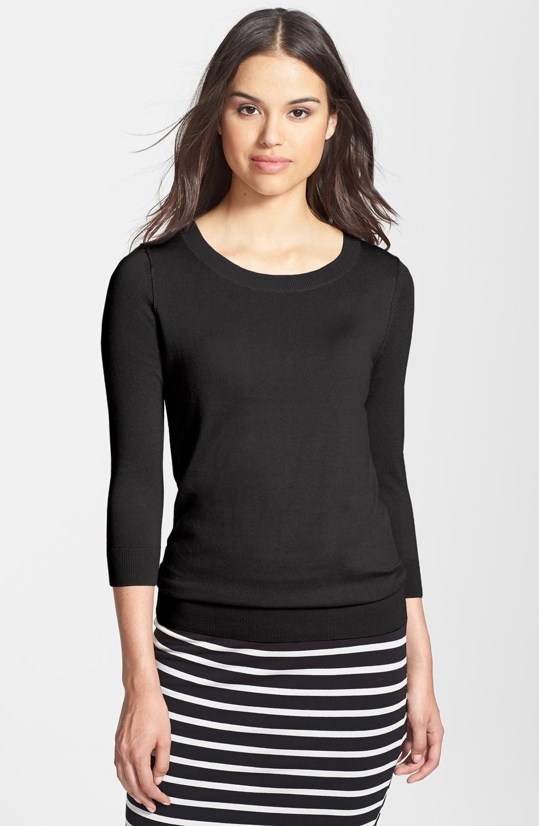 HALOGEN<SUP>®</SUP>,                             Three Quarter Sleeve Sweater,                             Main thumbnail 1, color,                             001
